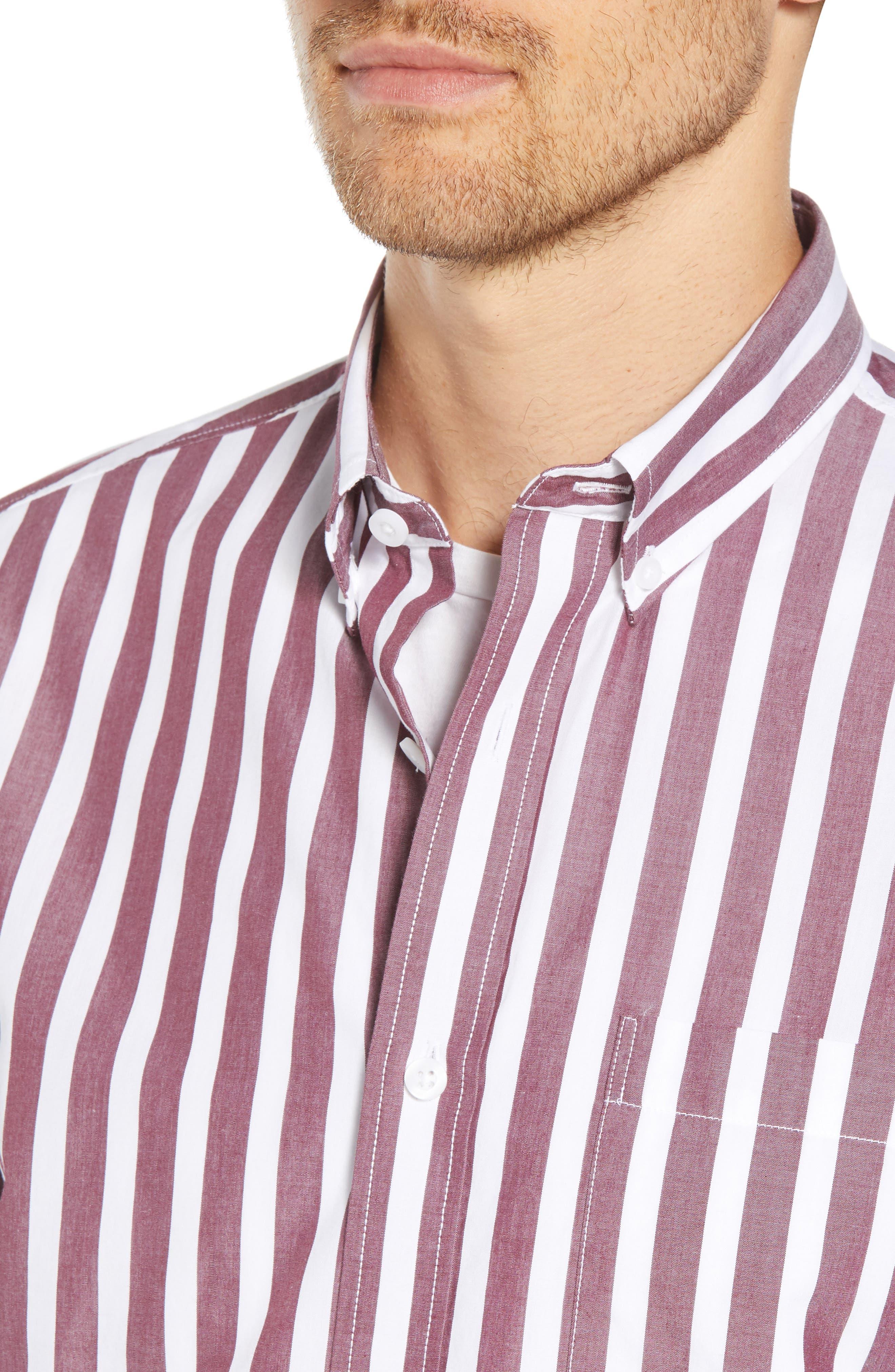 Ivy Trim Fit Stripe Sport Shirt,                             Alternate thumbnail 4, color,                             938