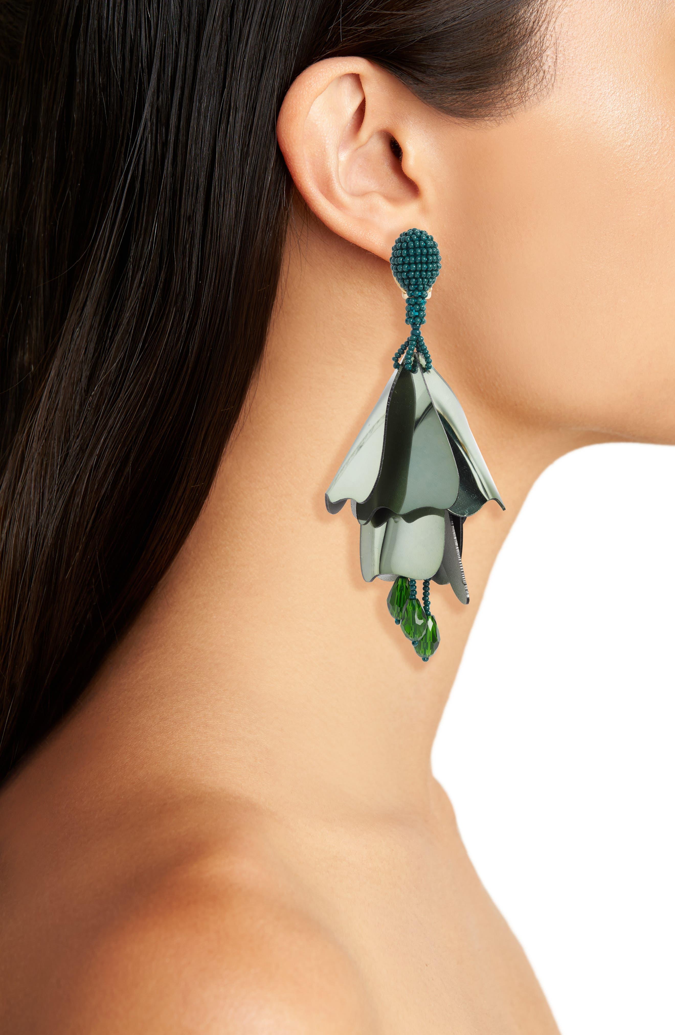 Large Impatiens Flower Clip Earrings,                             Alternate thumbnail 14, color,