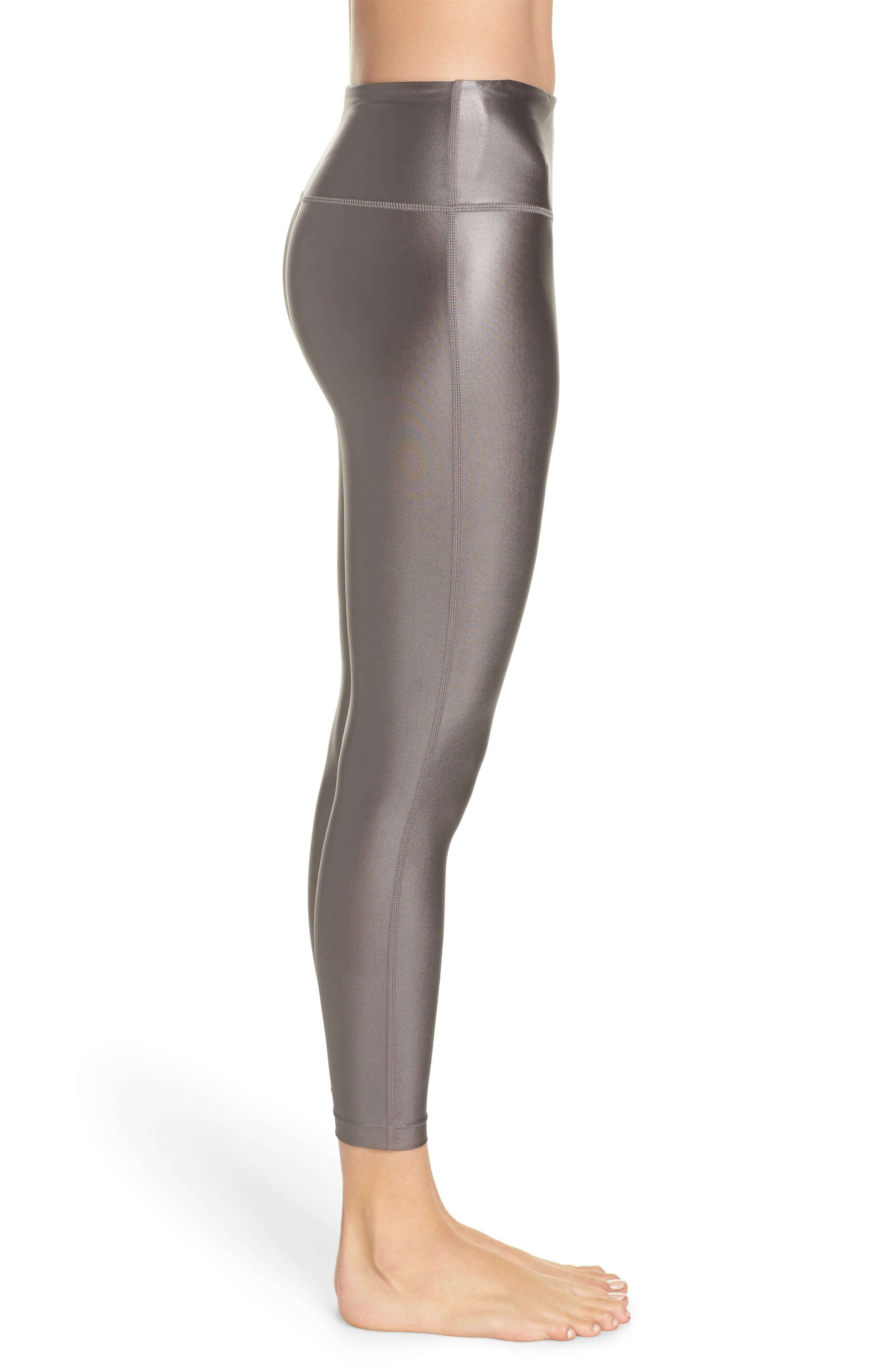 High Waist Shine Midi Leggings,                             Alternate thumbnail 3, color,                             GREY KITTEN