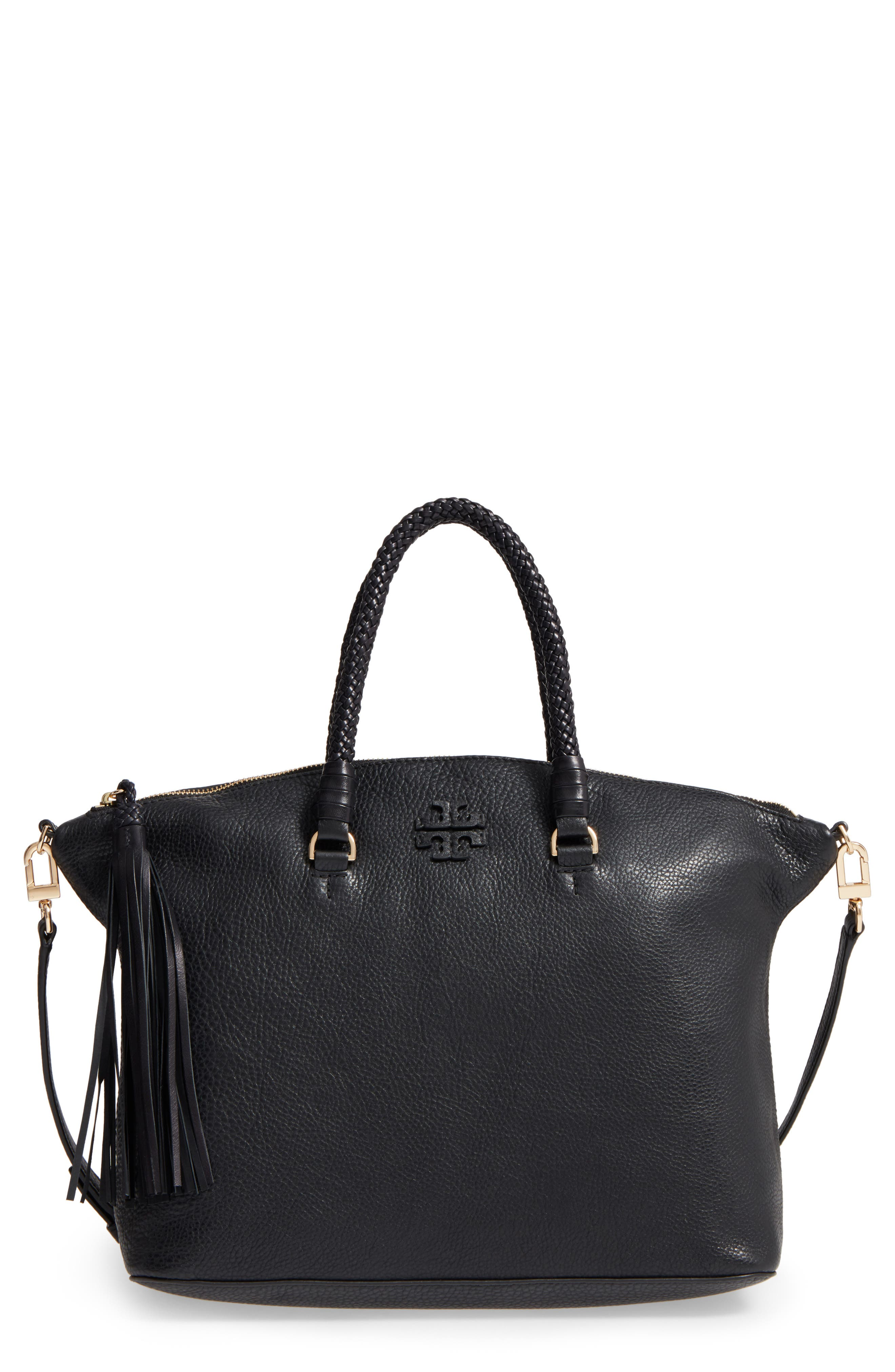 TORY BURCH,                             Taylor Leather Satchel,                             Main thumbnail 1, color,                             001