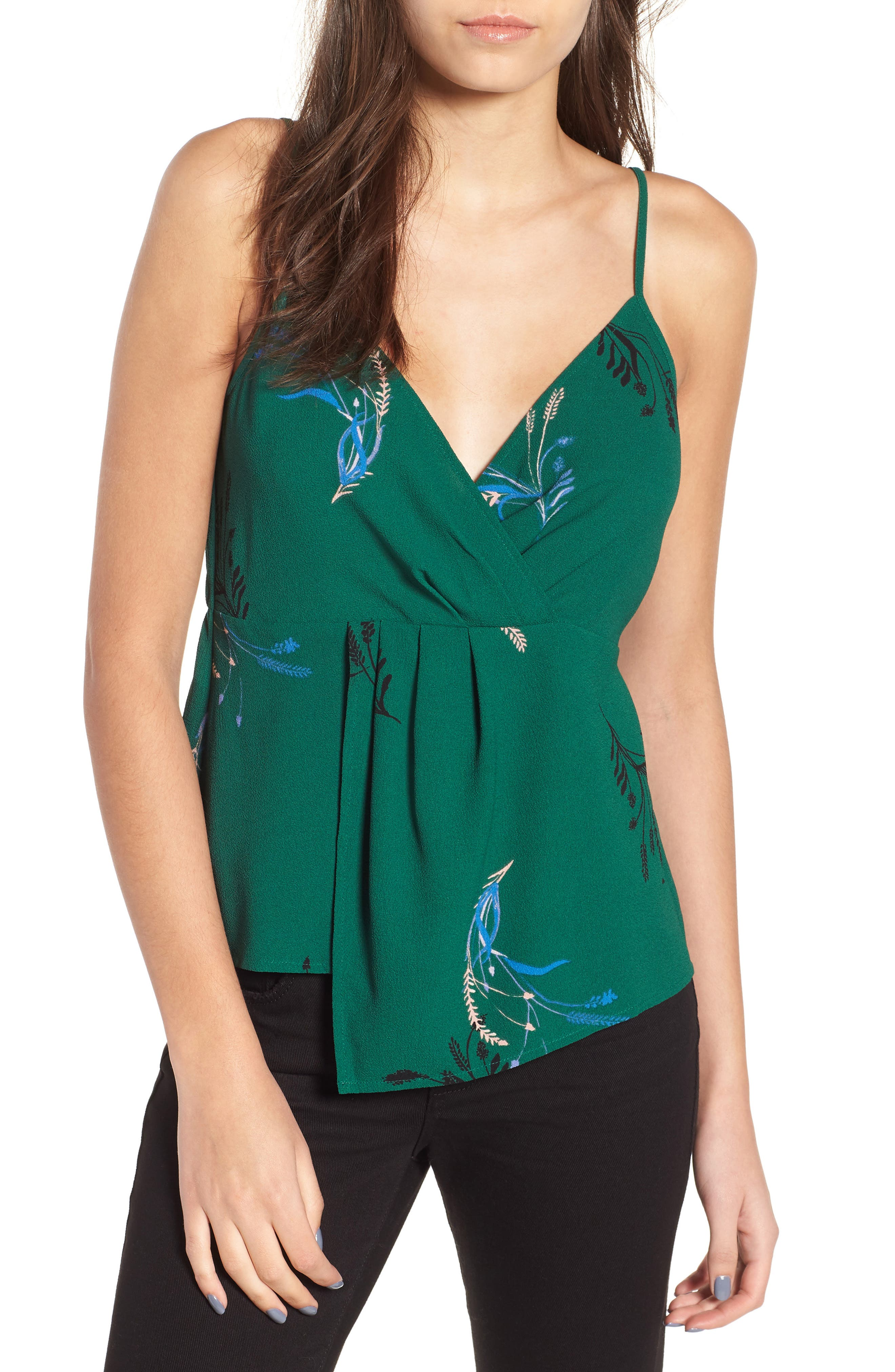 Twist Front Cami,                         Main,                         color, GREEN BUG WILD FLORAL