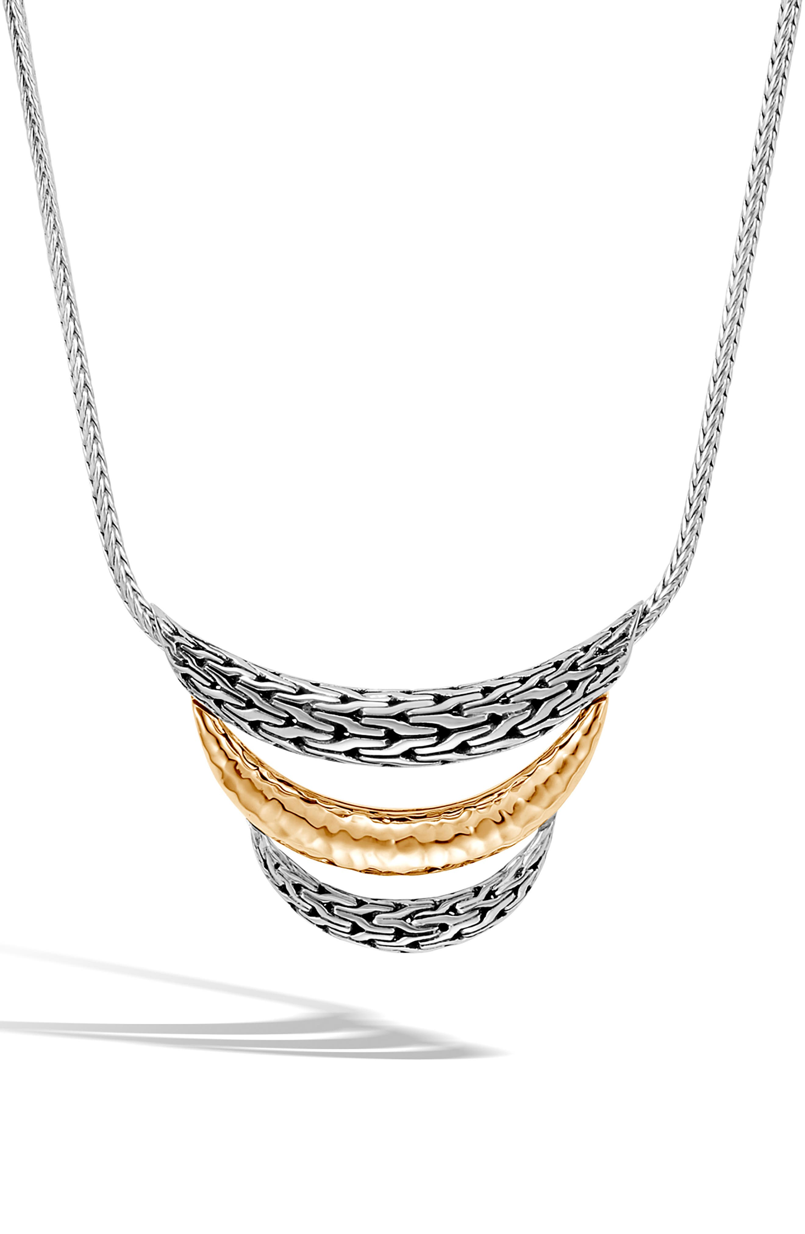 Classic Chain Sterling Silver & 18K Gold Bib Necklace,                             Main thumbnail 1, color,                             SILVER/ GOLD