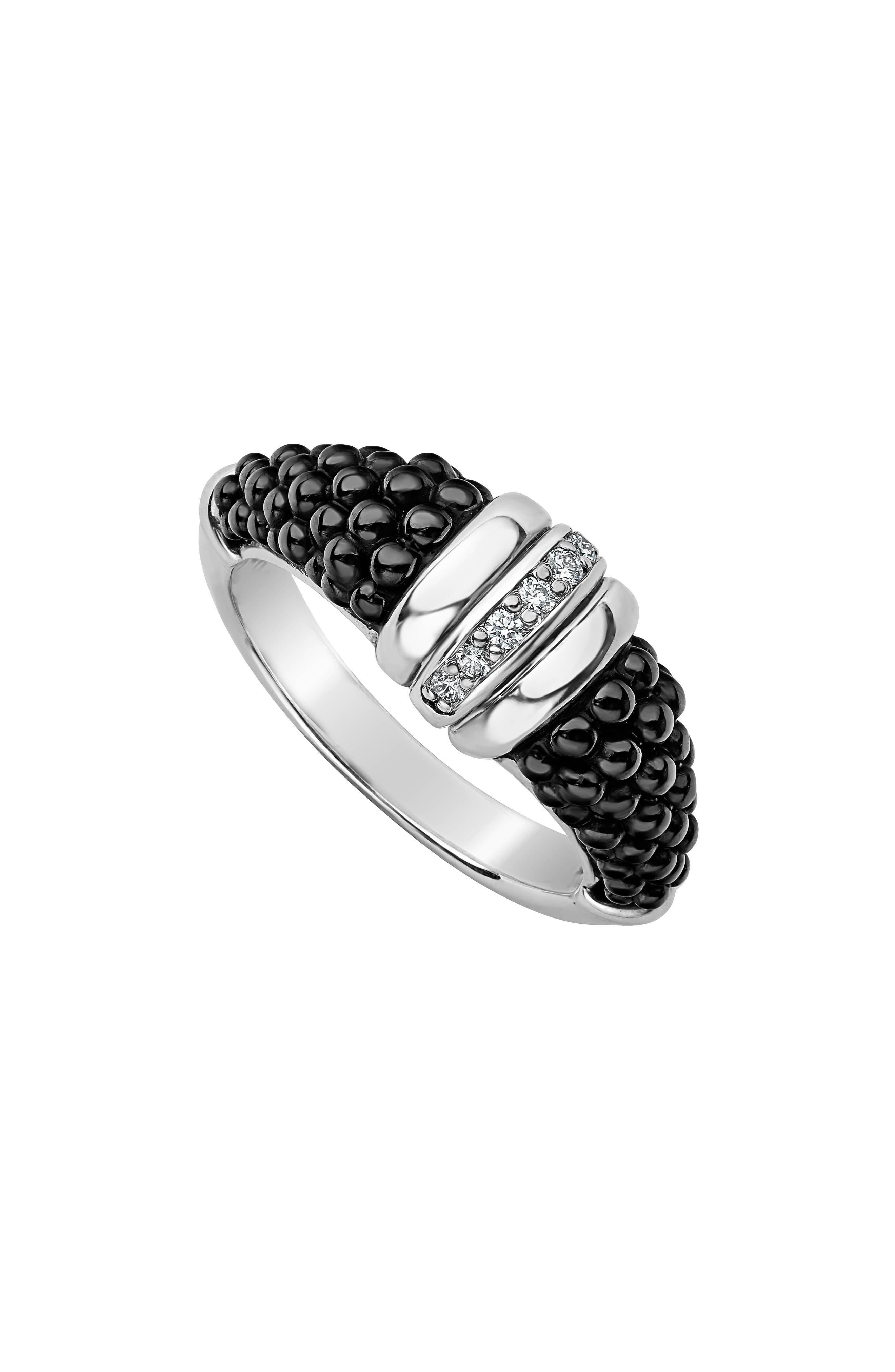 Sterling Silver Black Caviar Diamond & Black Ceramic Stacking Ring in Silver/ Black
