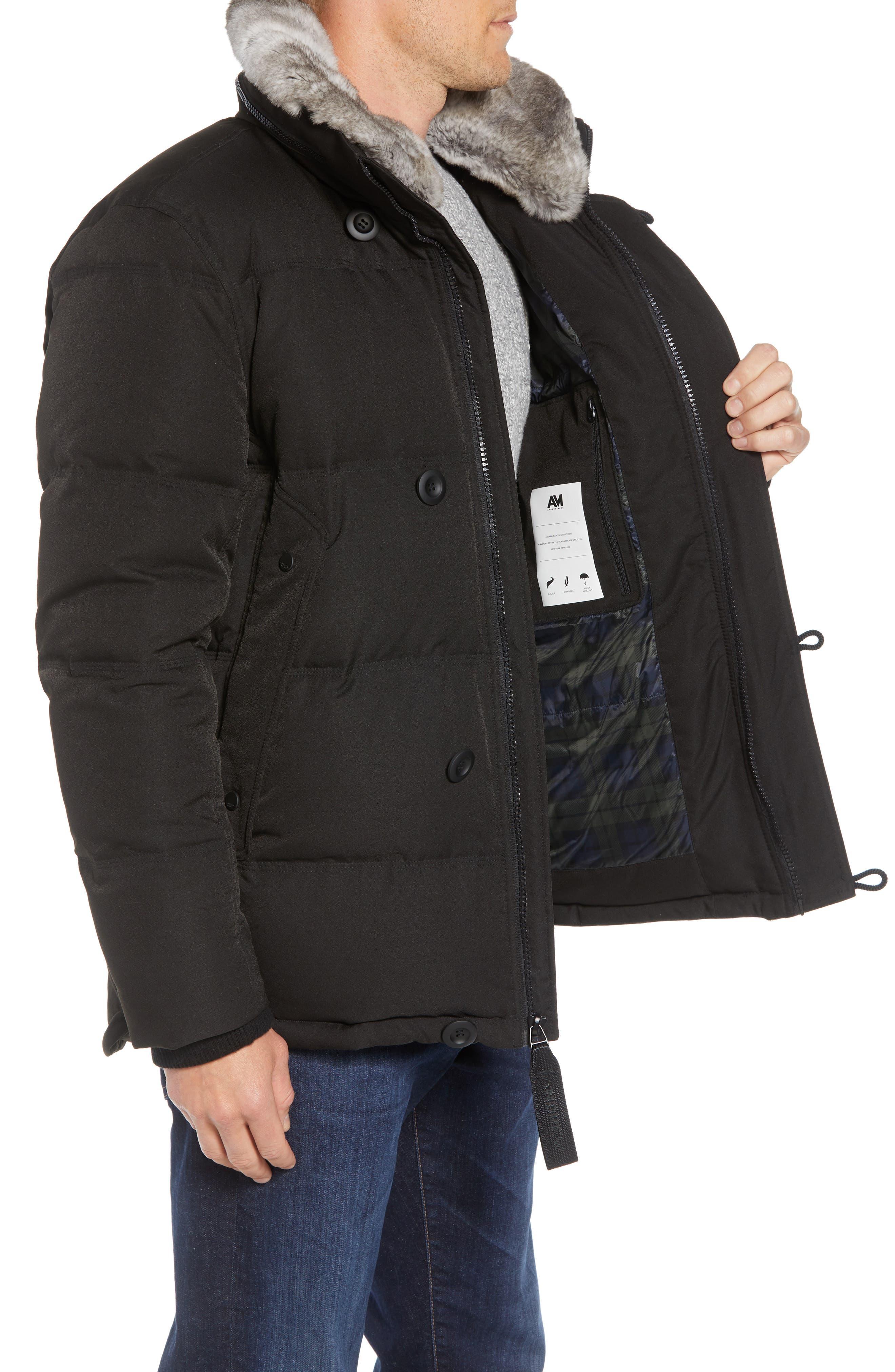Bryant Genuine Rabbit Fur Trim Down Jacket,                             Alternate thumbnail 4, color,                             BLACK
