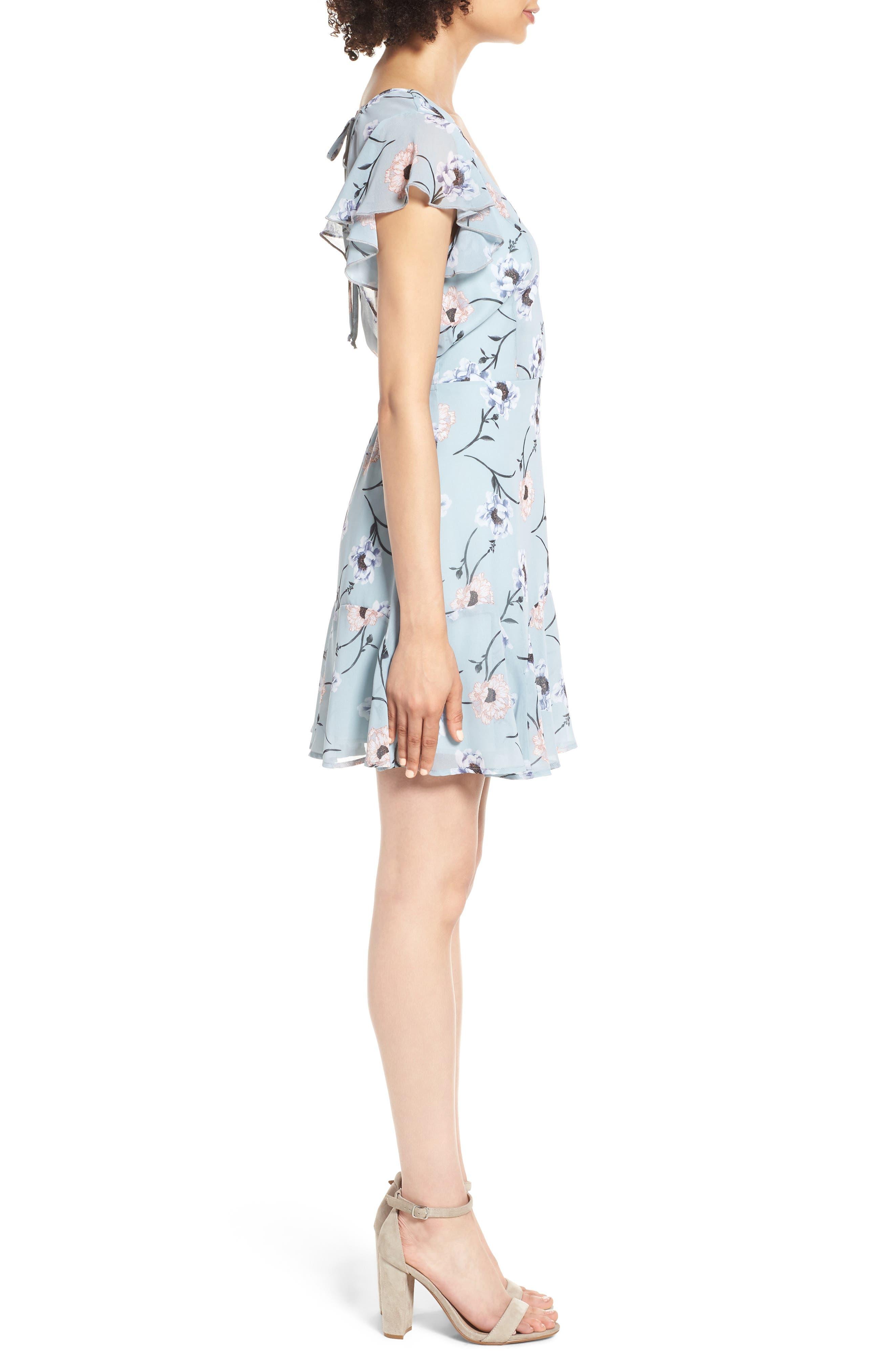 Flutter Sleeve Minidress,                             Alternate thumbnail 4, color,                             400