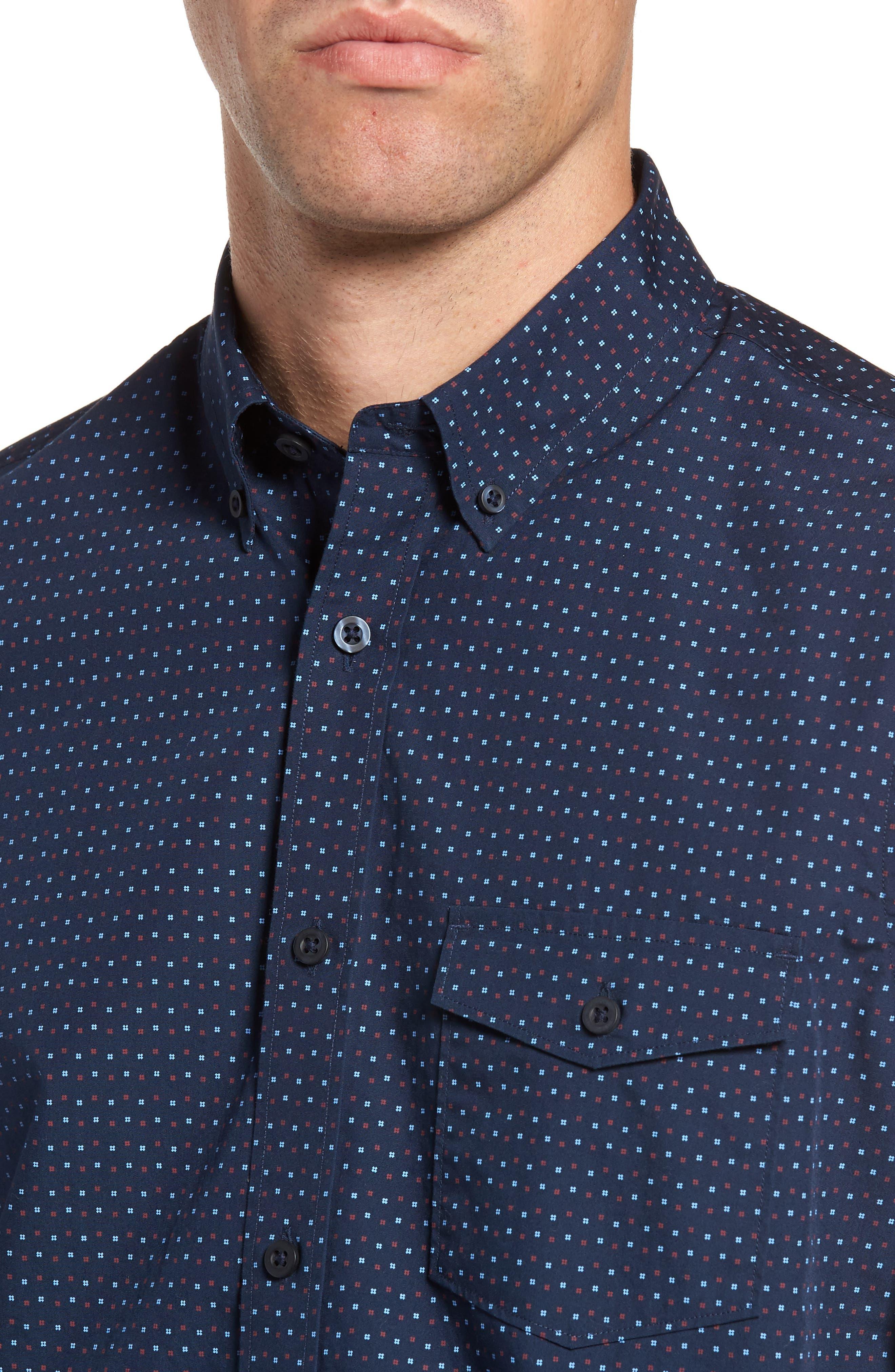 Ivy Trim Fit Print Sport Shirt,                             Alternate thumbnail 4, color,                             410