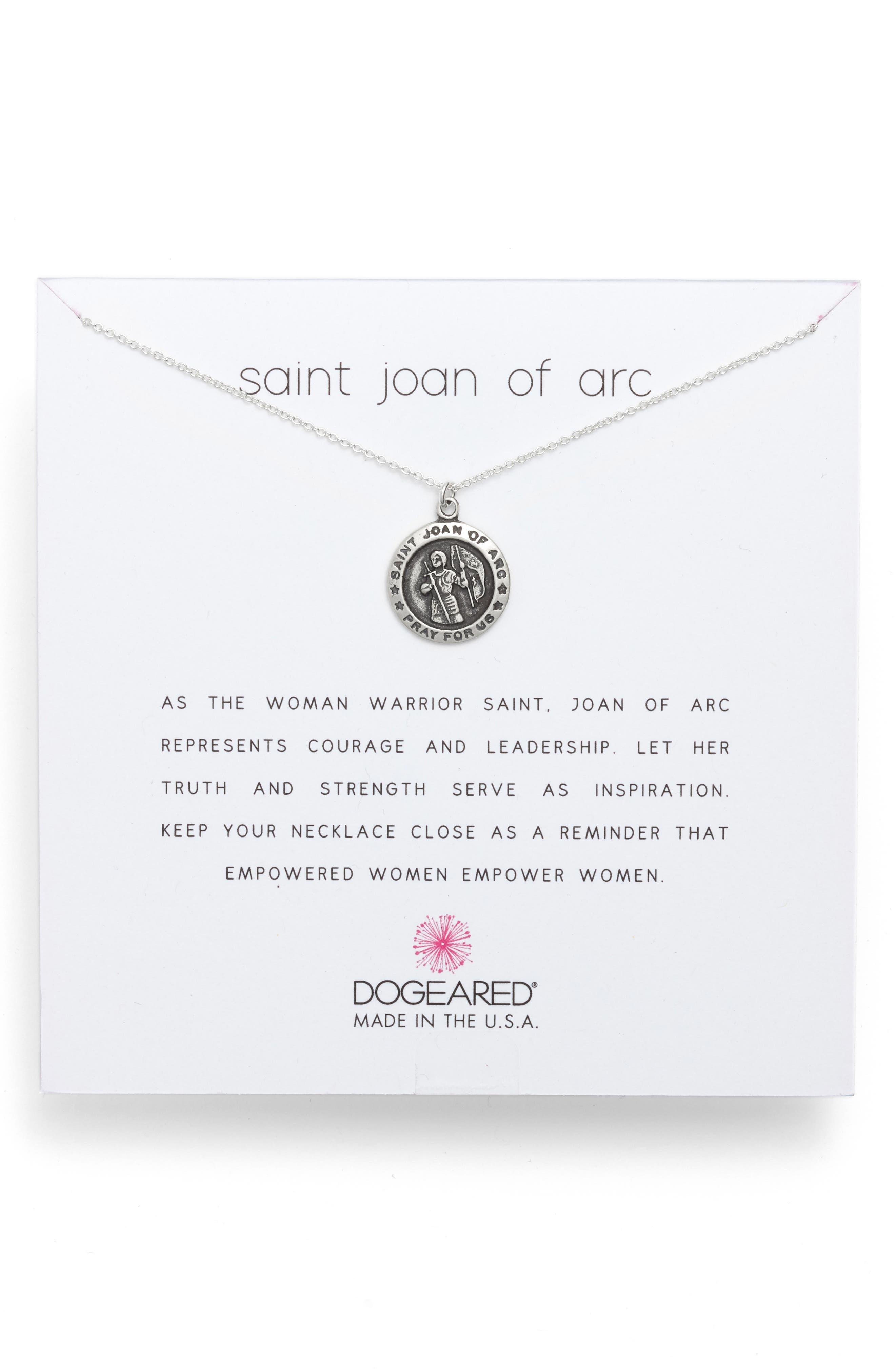 DOGEARED Saint Joan Of Arc Pendant Necklace in Silver