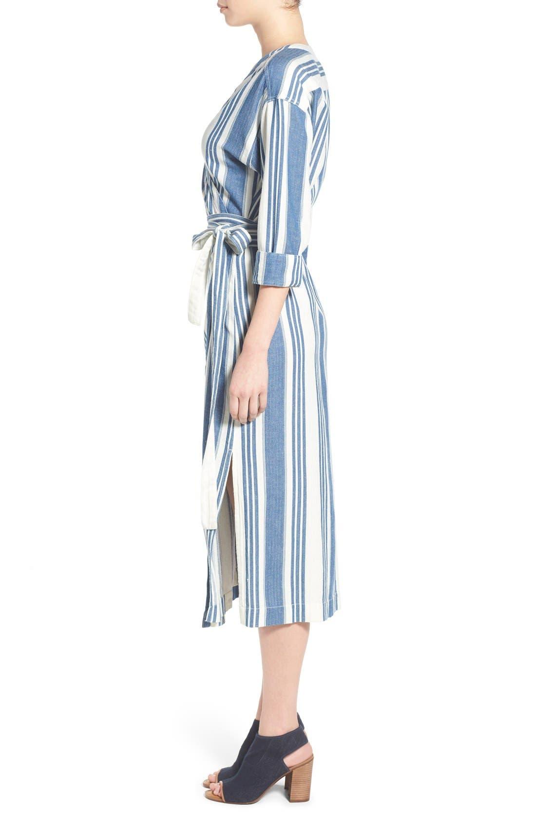 'Linn Stripe' Wrap Midi Dress,                             Alternate thumbnail 3, color,                             400