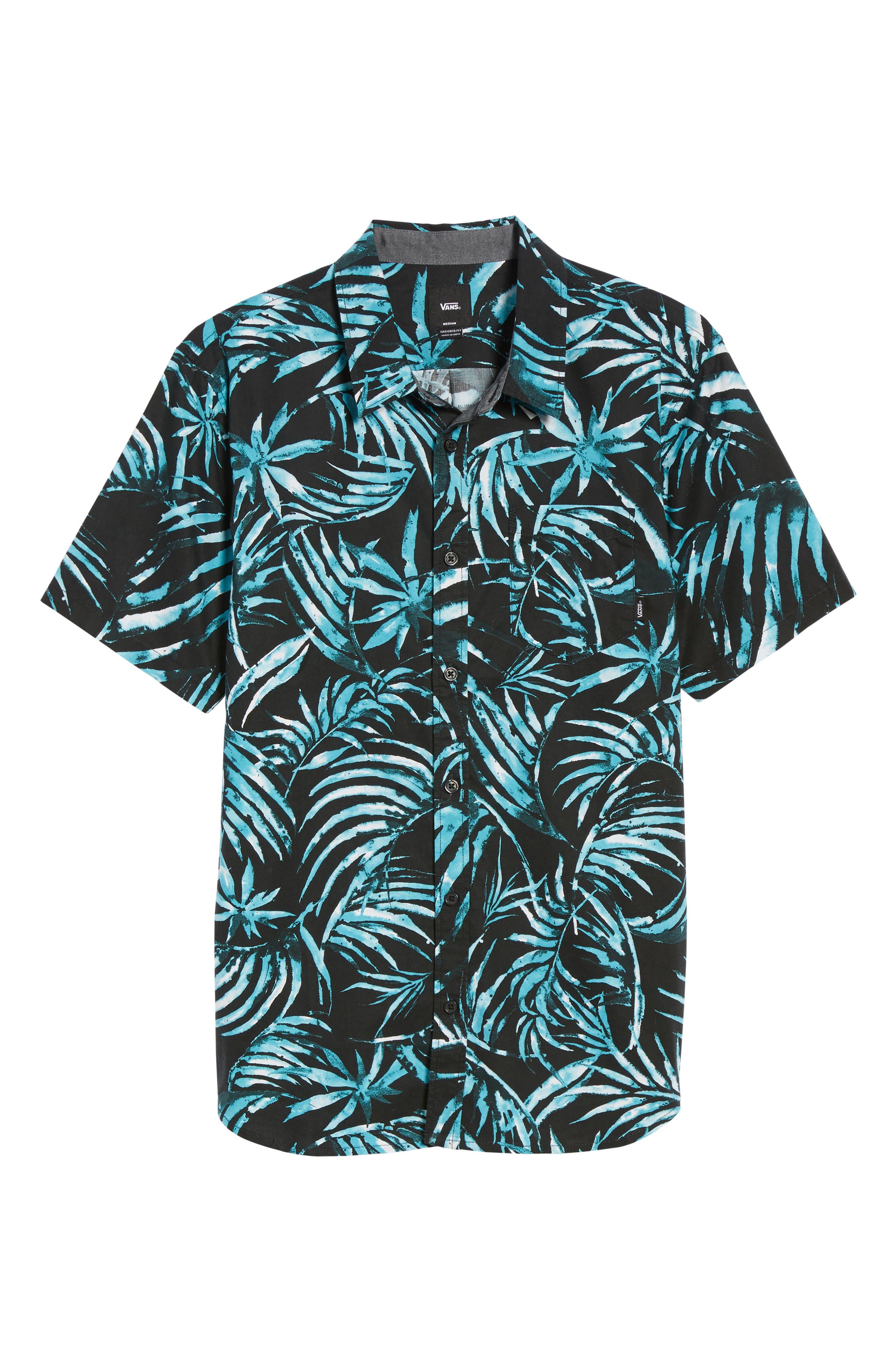 Del Playa Palm Print Woven Shirt,                             Alternate thumbnail 6, color,                             001