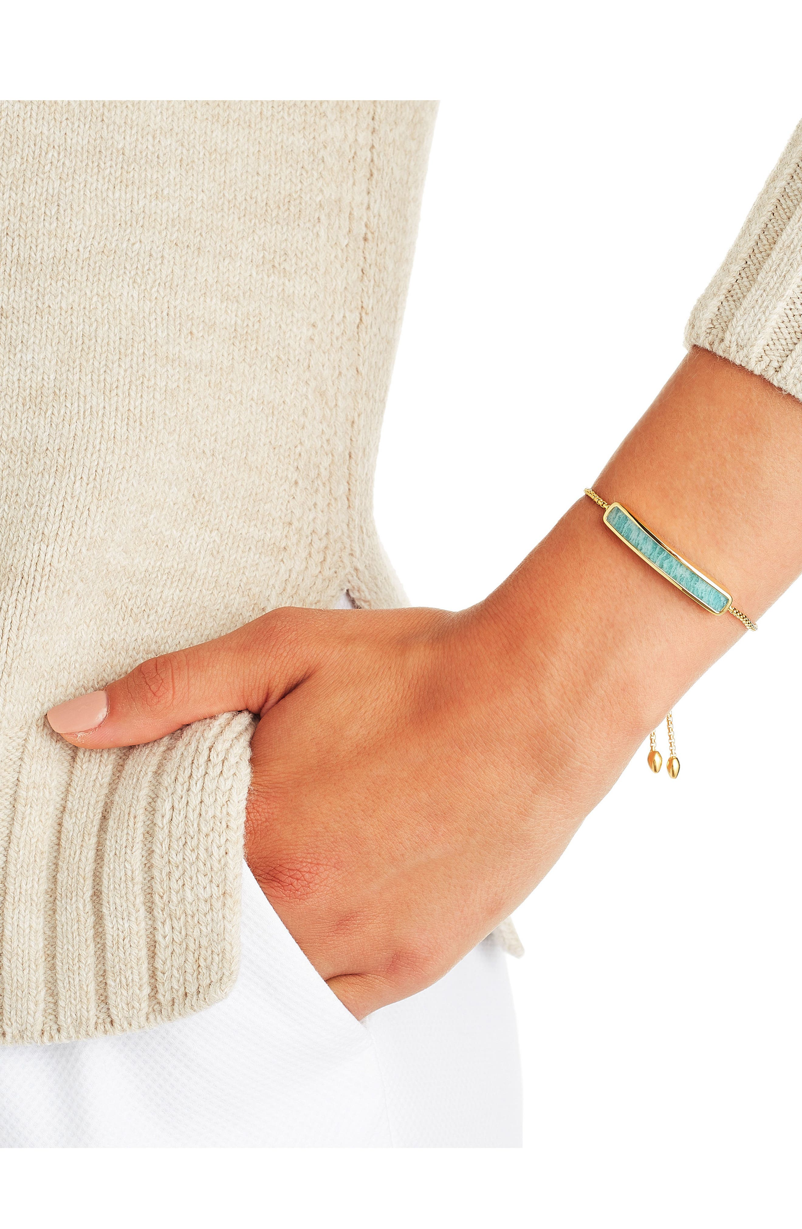 MONICA VINADER,                             Engravable Baja Stone Bracelet,                             Alternate thumbnail 3, color,                             GOLD/ AMAZONITE