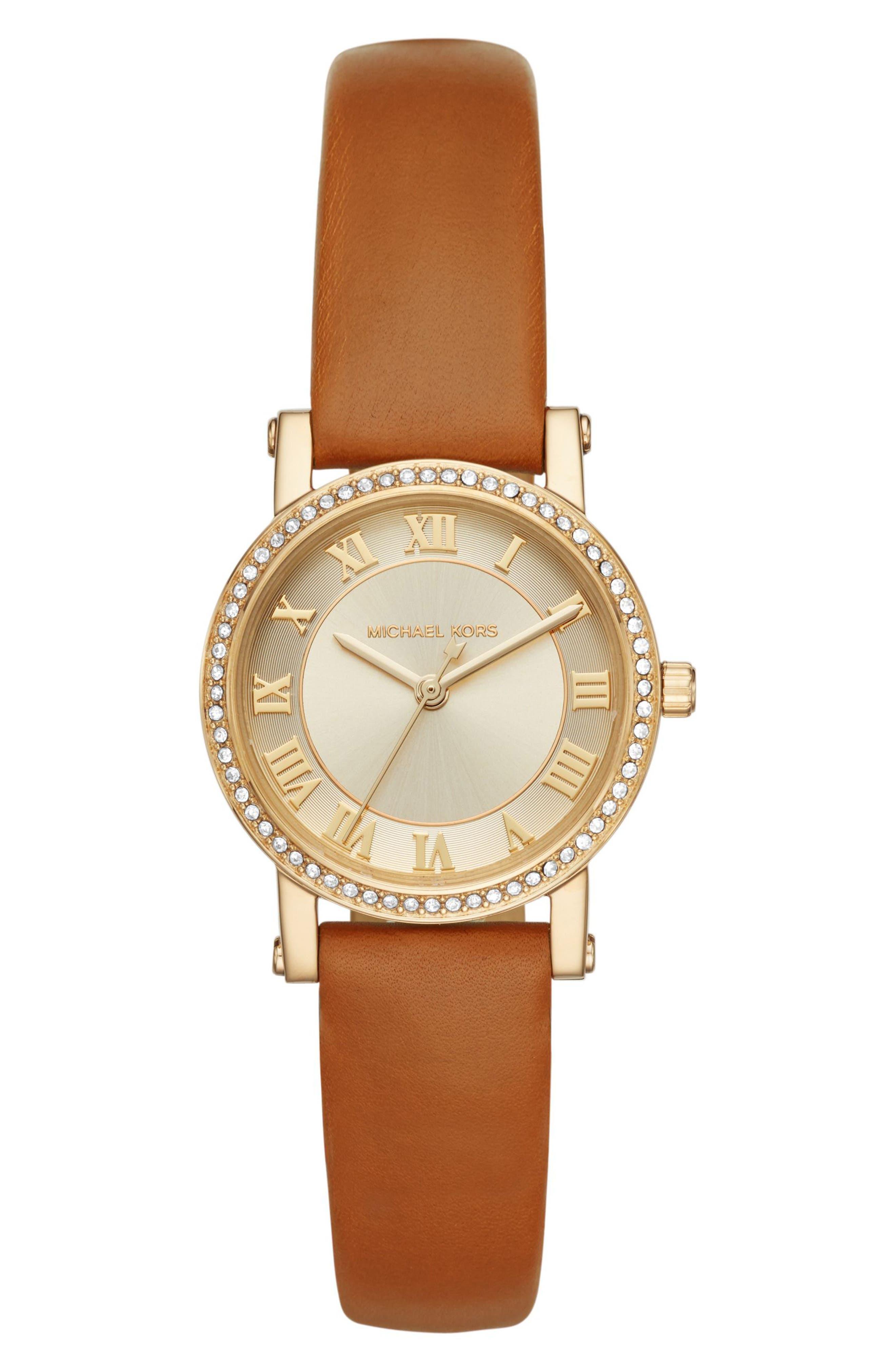Petite Norie Pavé Leather Strap Watch, 28mm,                         Main,                         color, 200