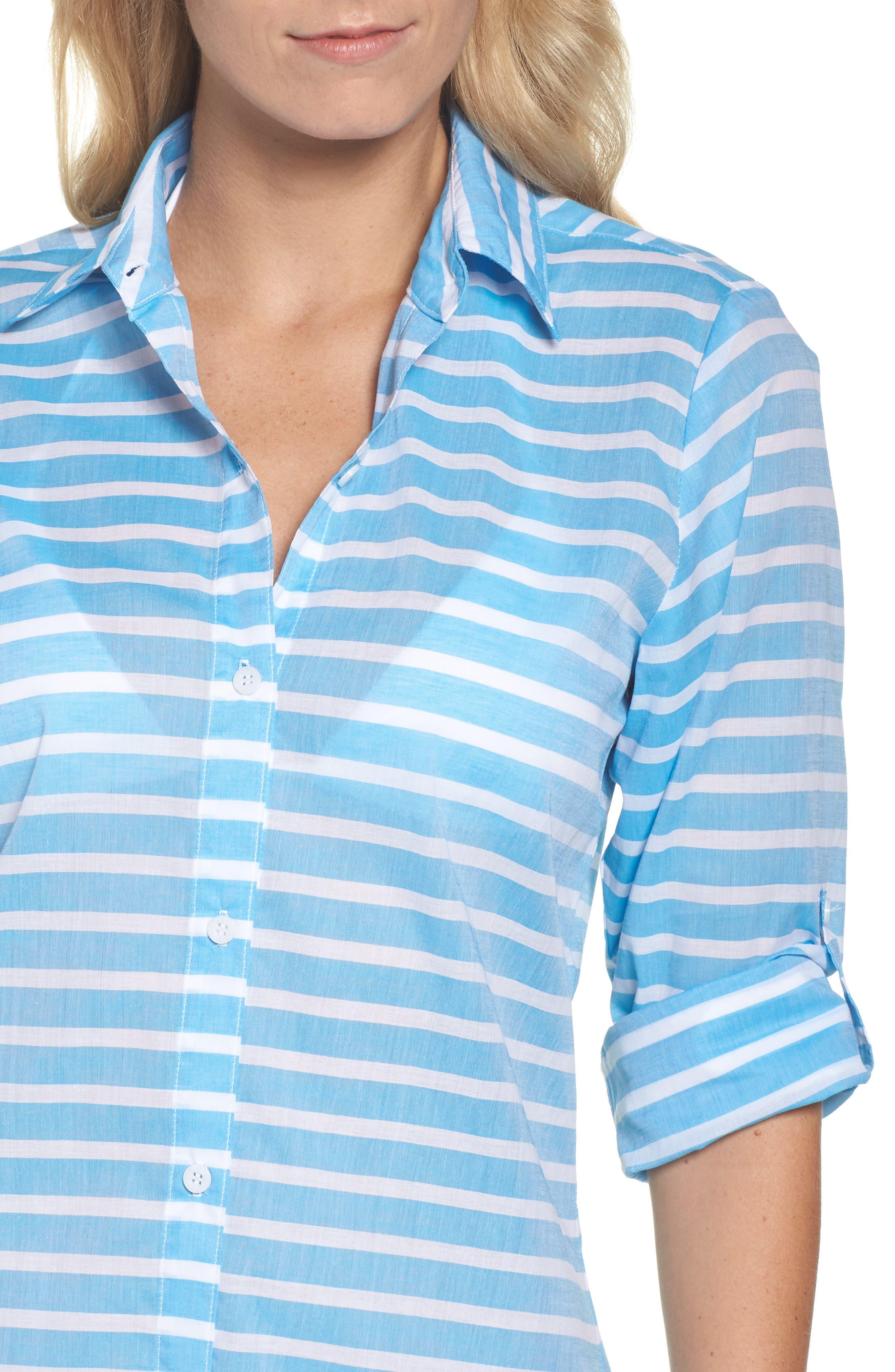 Brenton Stripe Boyfriend Shirt Cover-Up,                             Alternate thumbnail 11, color,