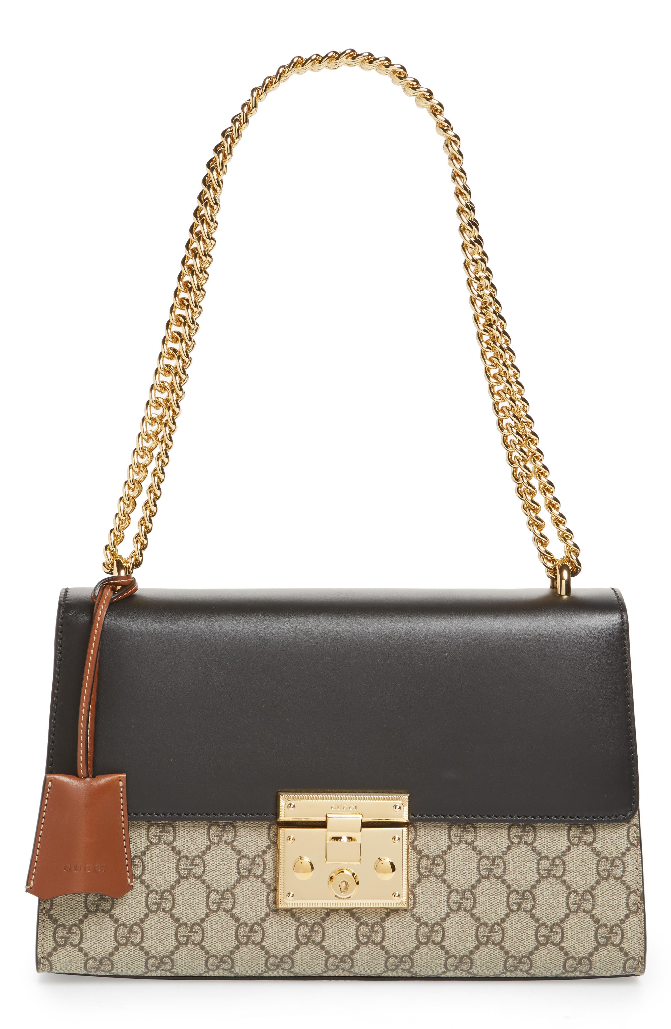 Medium Padlock Leather Shoulder Bag,                         Main,                         color, MOON/ TOSCANO