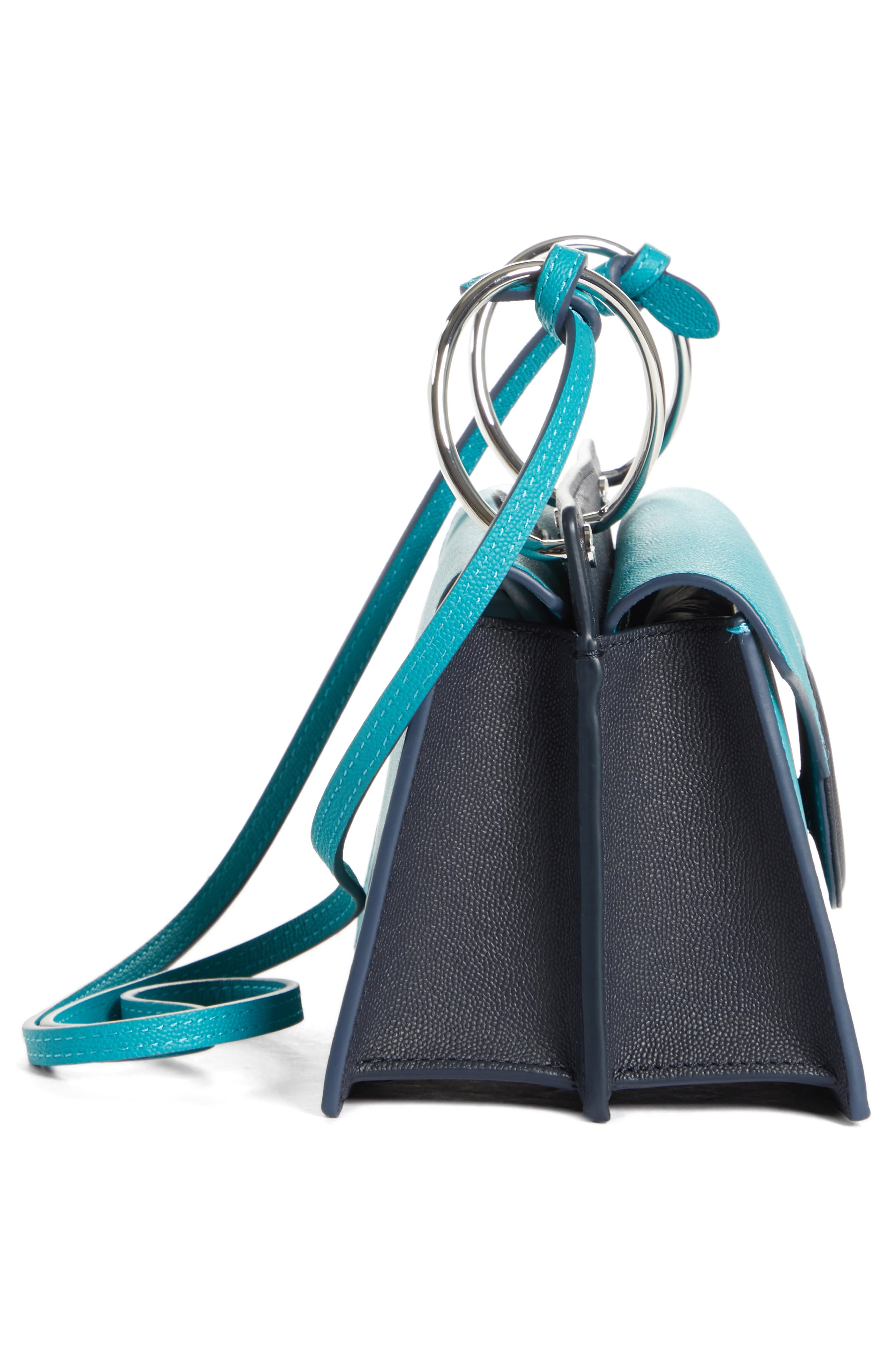 Mini Phoebe Leather Bag,                             Alternate thumbnail 5, color,                             TURQUOISE