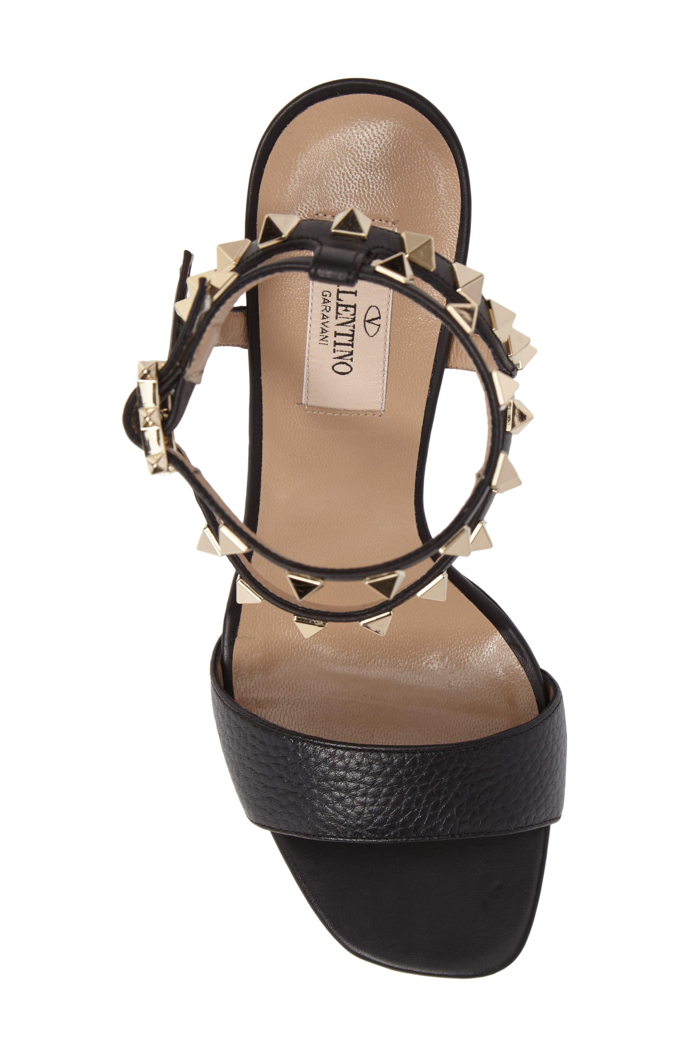 Rockstud Ankle Strap Sandal,                             Alternate thumbnail 5, color,                             BLACK