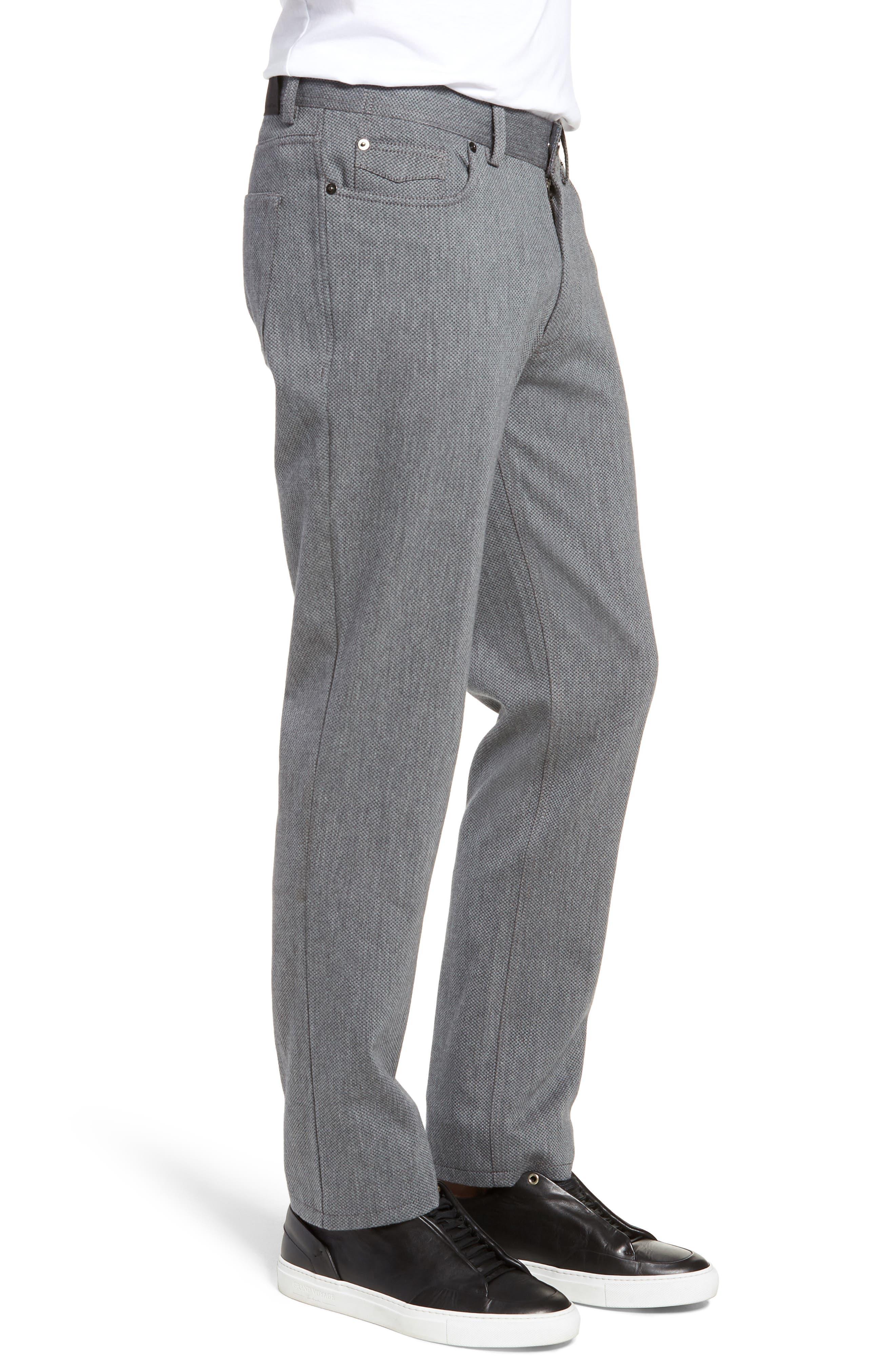 Straight Leg Five Pocket Stretch Pants,                             Alternate thumbnail 3, color,                             HEATHER CHARCOAL CROSSHATCH