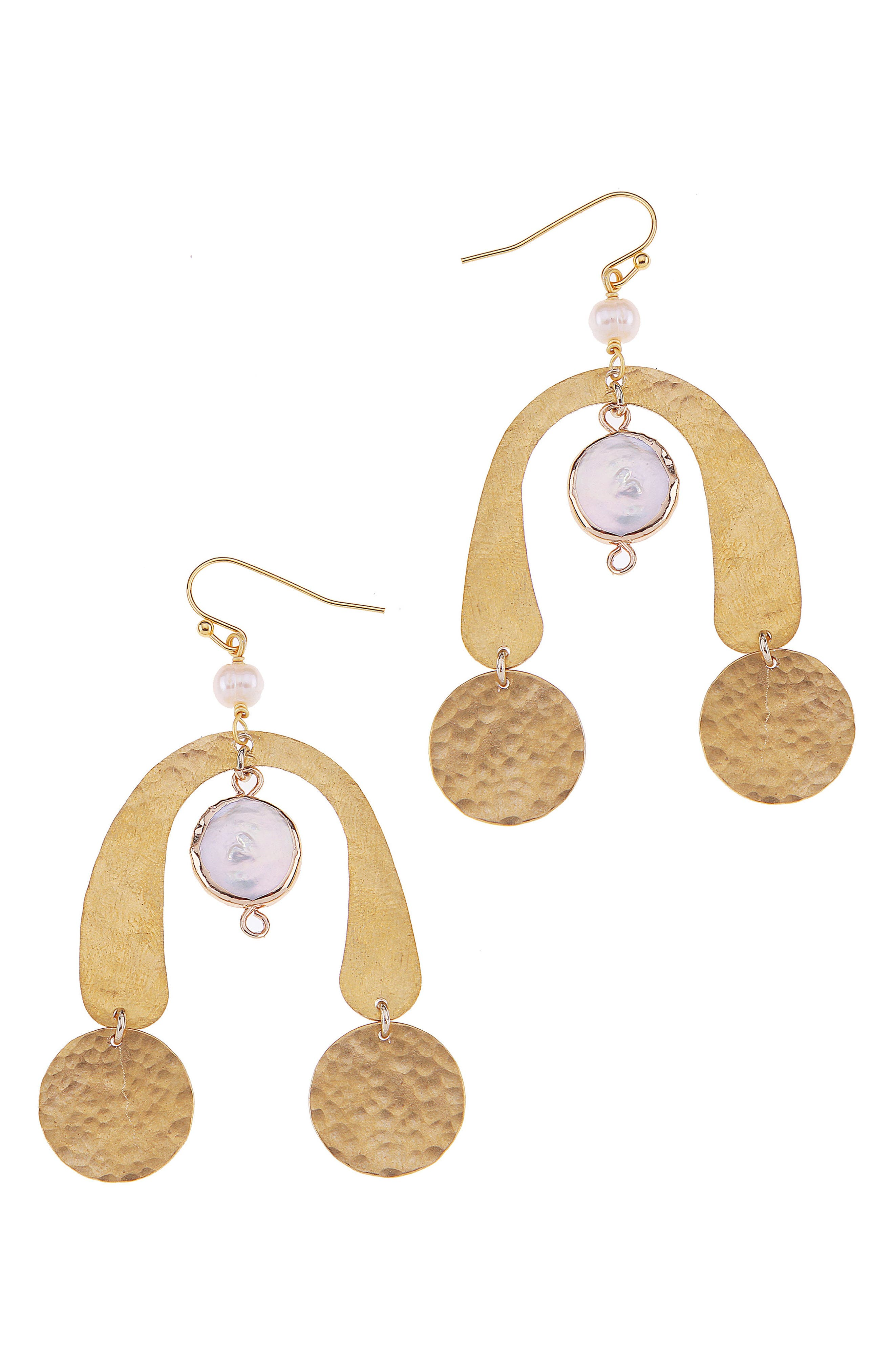 Brass Coin & Freshwater Pearl Statement Earrings,                             Main thumbnail 1, color,