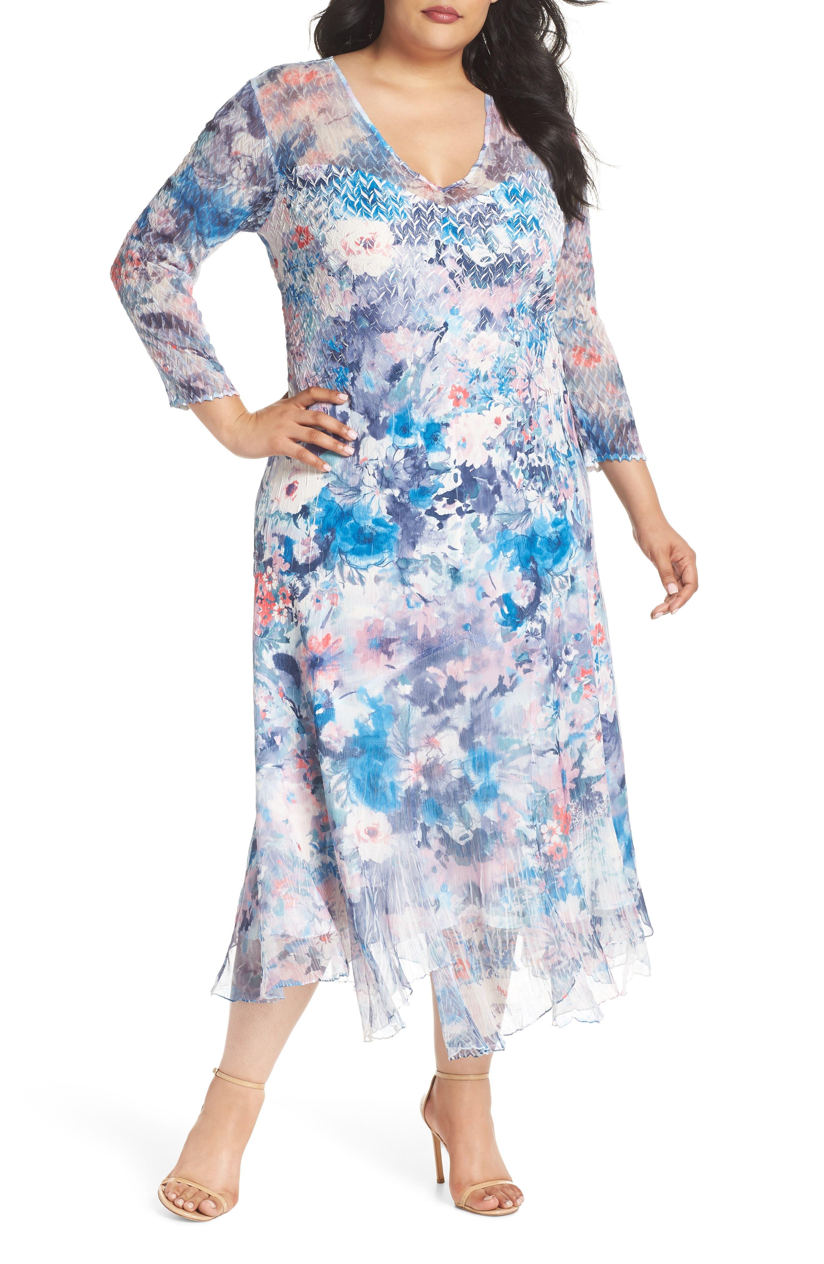 Inset Floral Charmeuse & Chiffon A-Line Dress,                         Main,                         color, 405