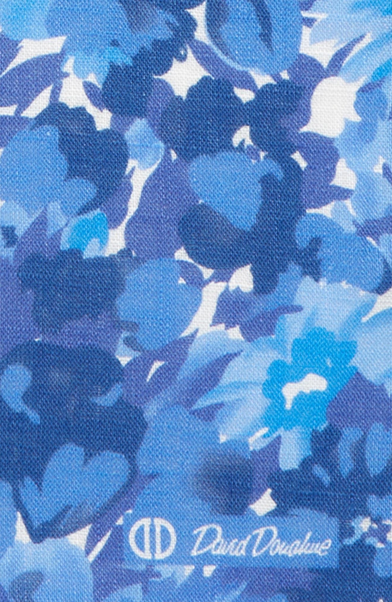 Floral Linen Pocket Square,                             Alternate thumbnail 3, color,                             BLUE