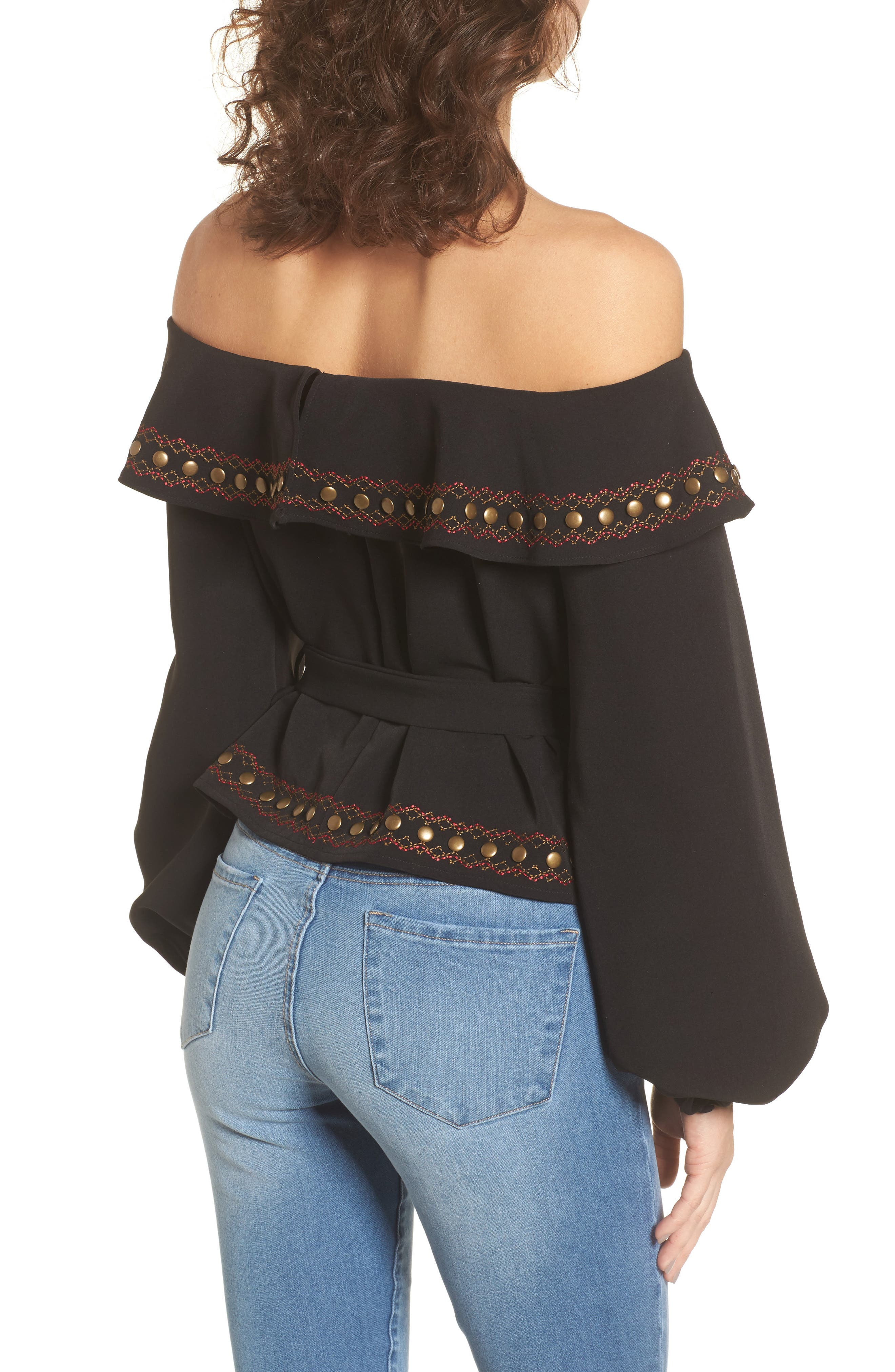 Lucy Off the Shoulder Top,                             Alternate thumbnail 2, color,                             001
