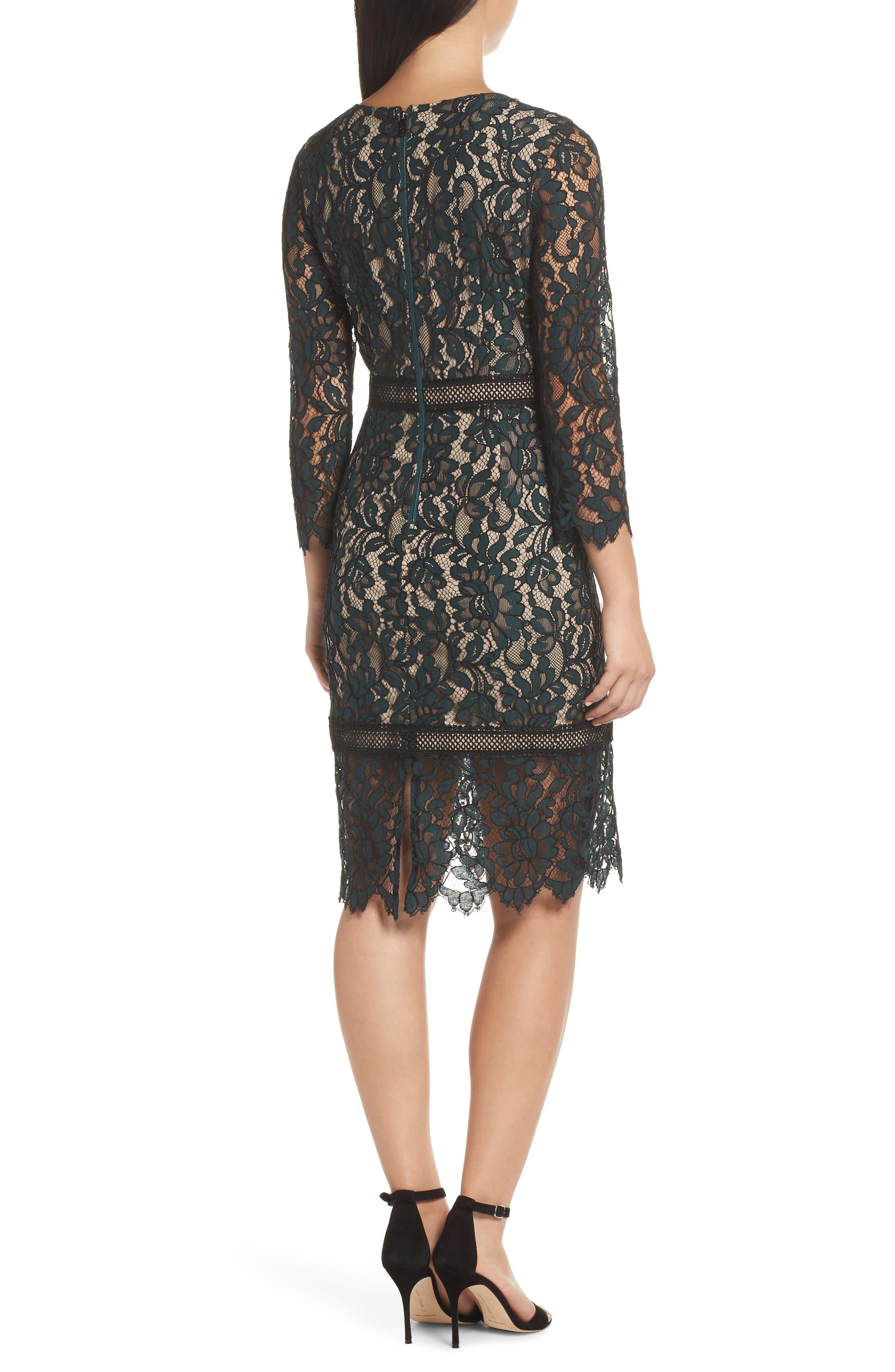 Lace Sheath Dress,                             Alternate thumbnail 2, color,                             GREEN