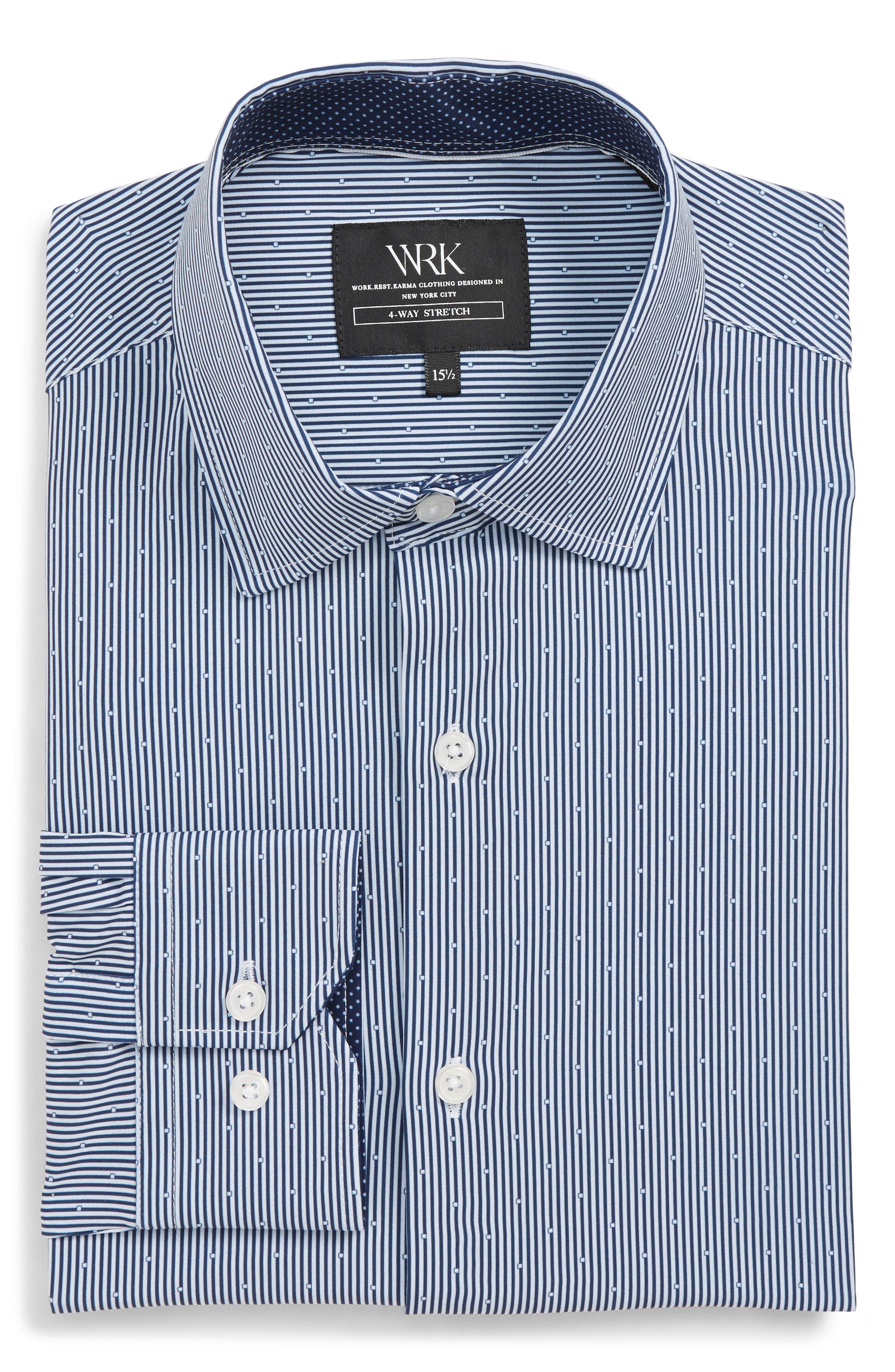 Trim Fit Stretch Stripe Dress Shirt,                             Alternate thumbnail 5, color,                             BLUE