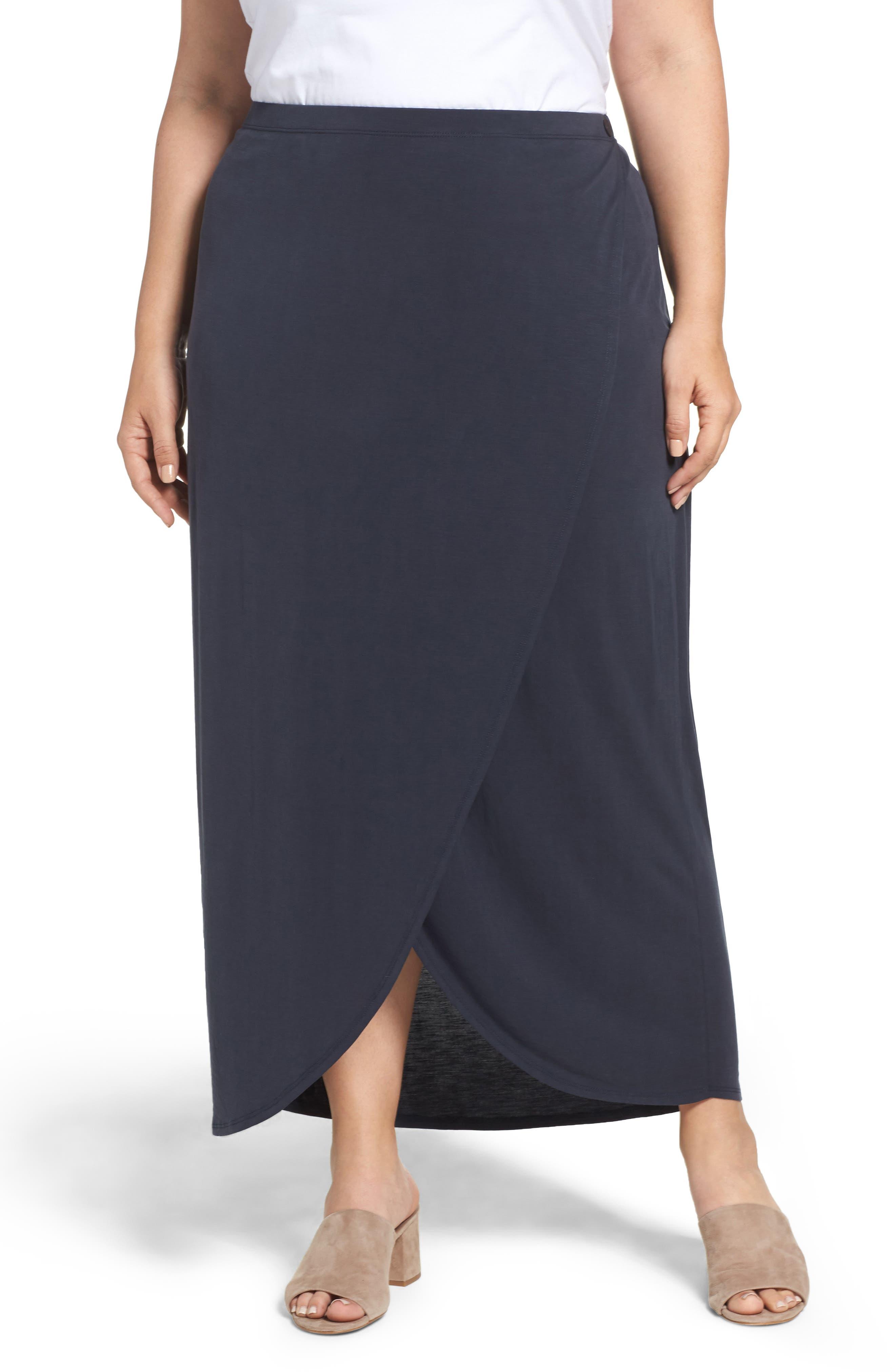 Boardwalk Knit Wrap Maxi Skirt,                             Main thumbnail 2, color,