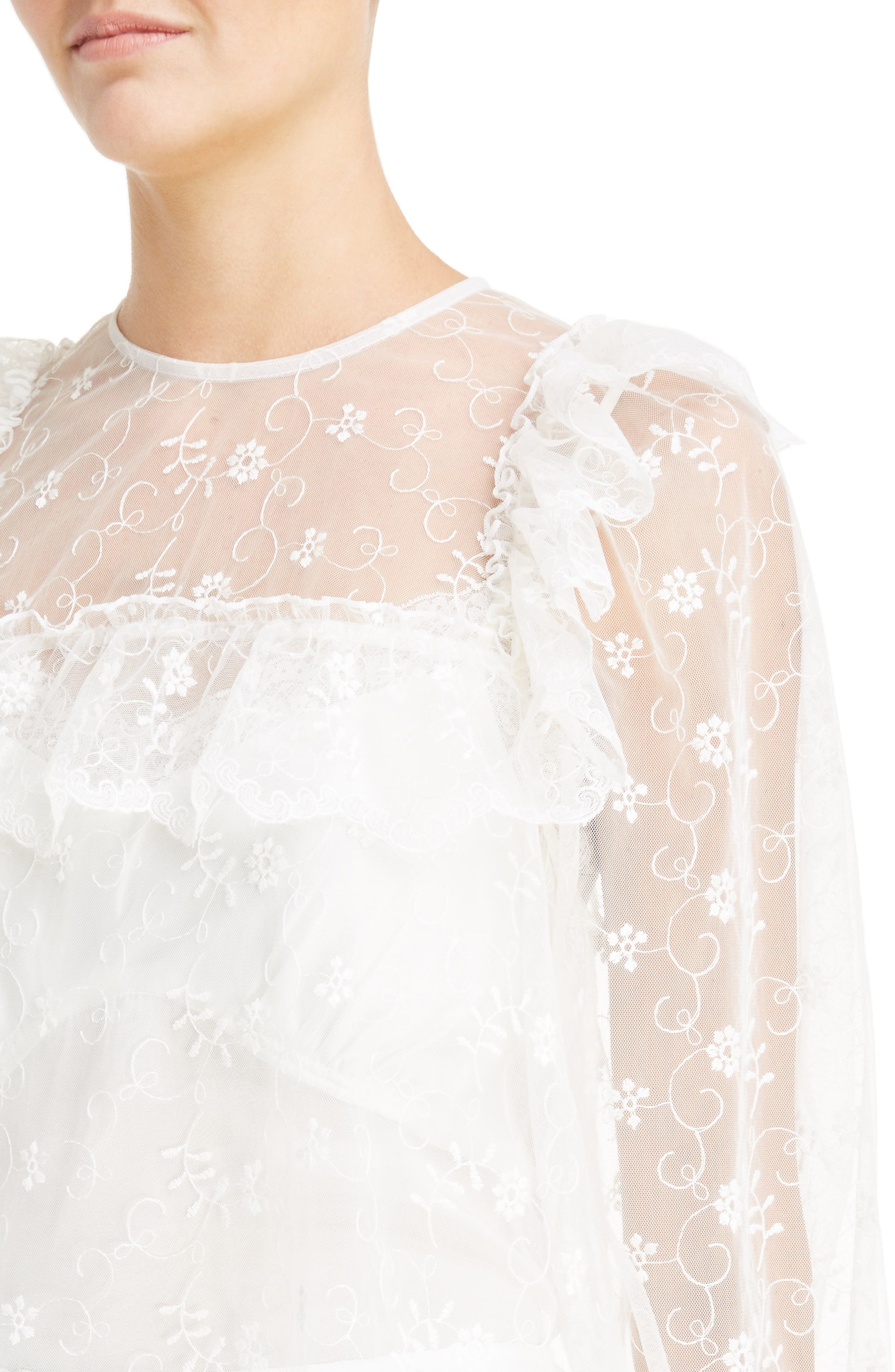 Frilled Bib Embroidered Tulle Top,                             Alternate thumbnail 4, color,                             900