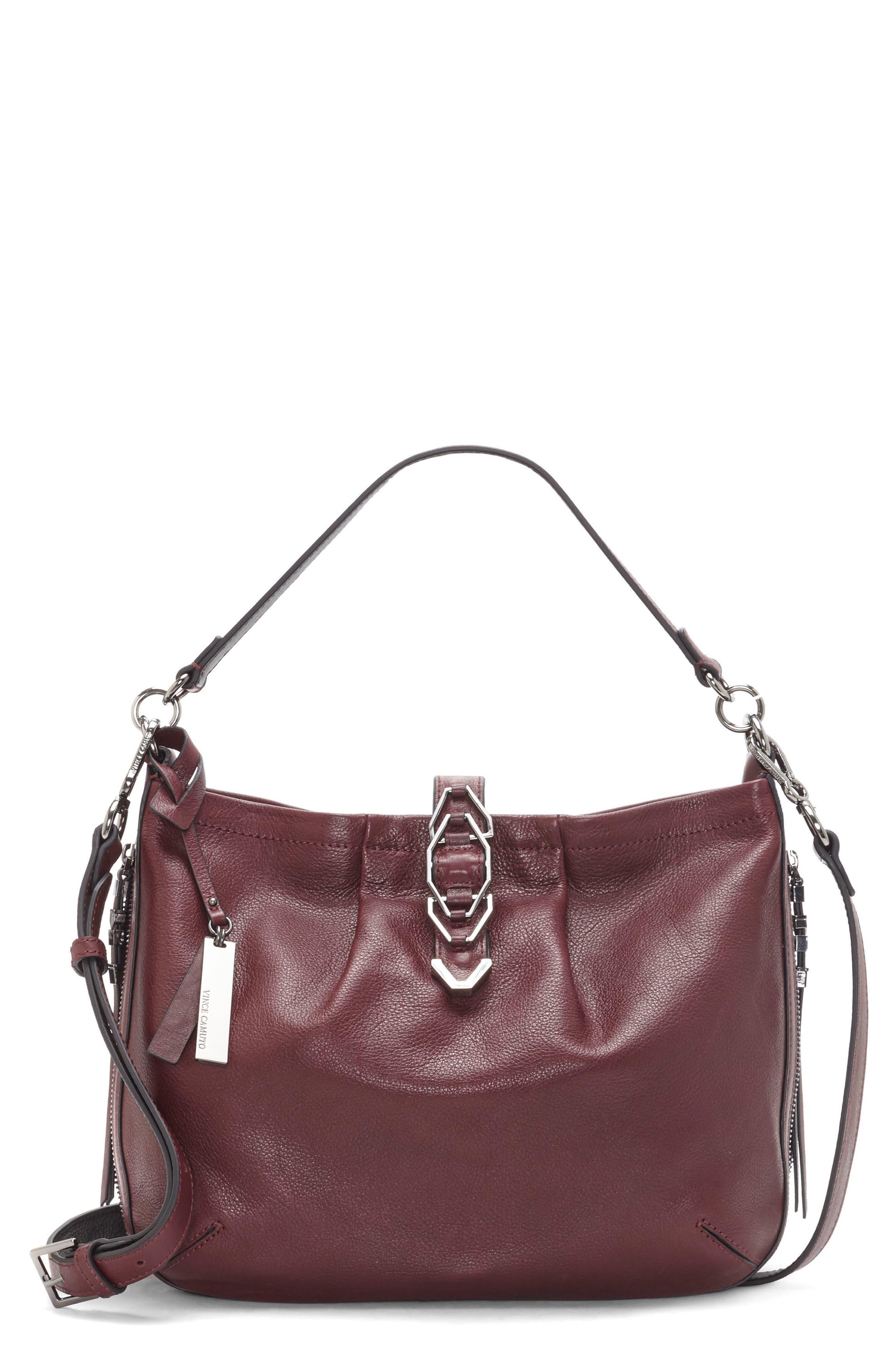 Luk Pleated Leather Shoulder Bag,                             Main thumbnail 2, color,