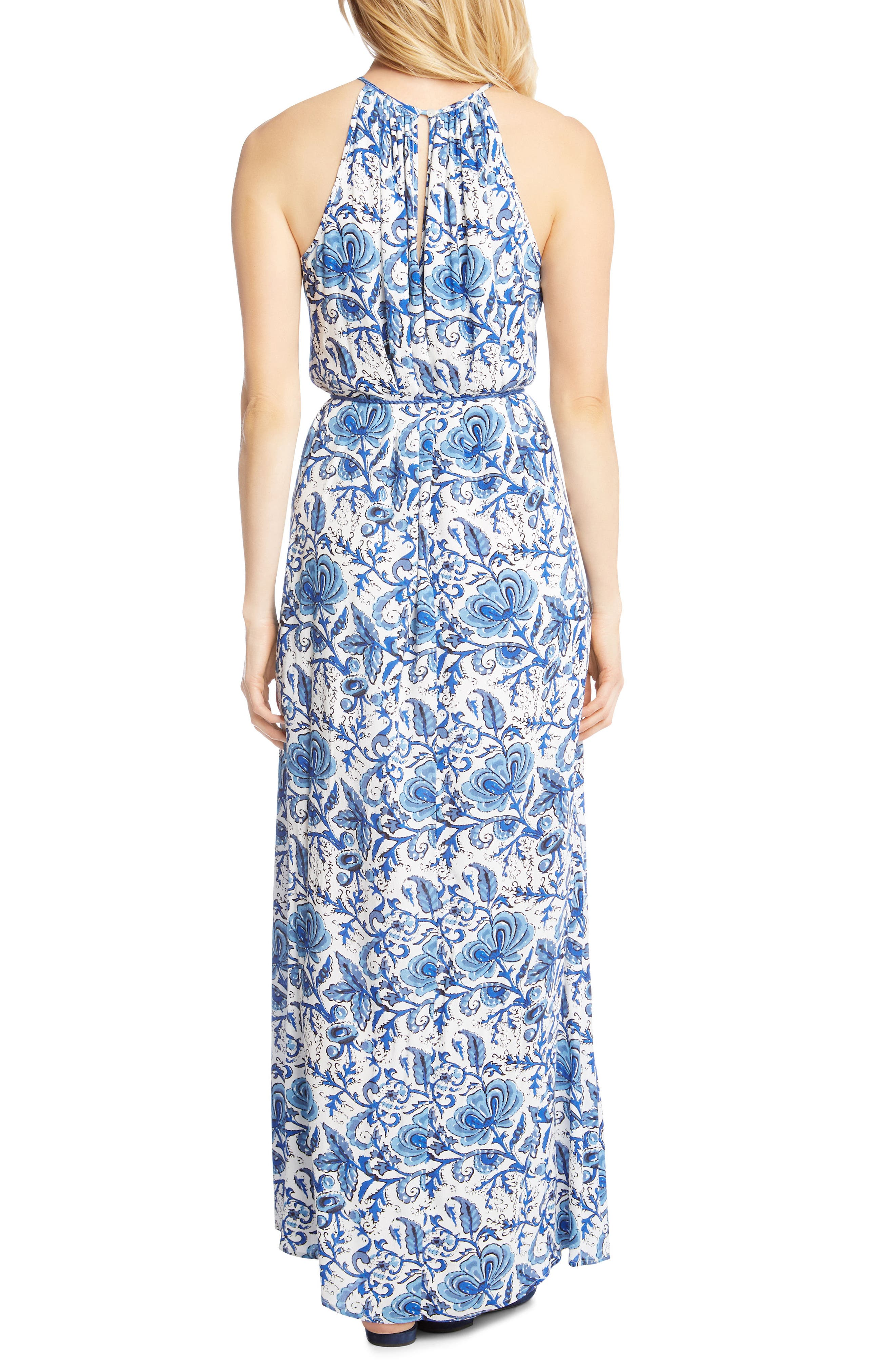 Halter Slit Side Maxi Crepe Dress,                             Alternate thumbnail 2, color,