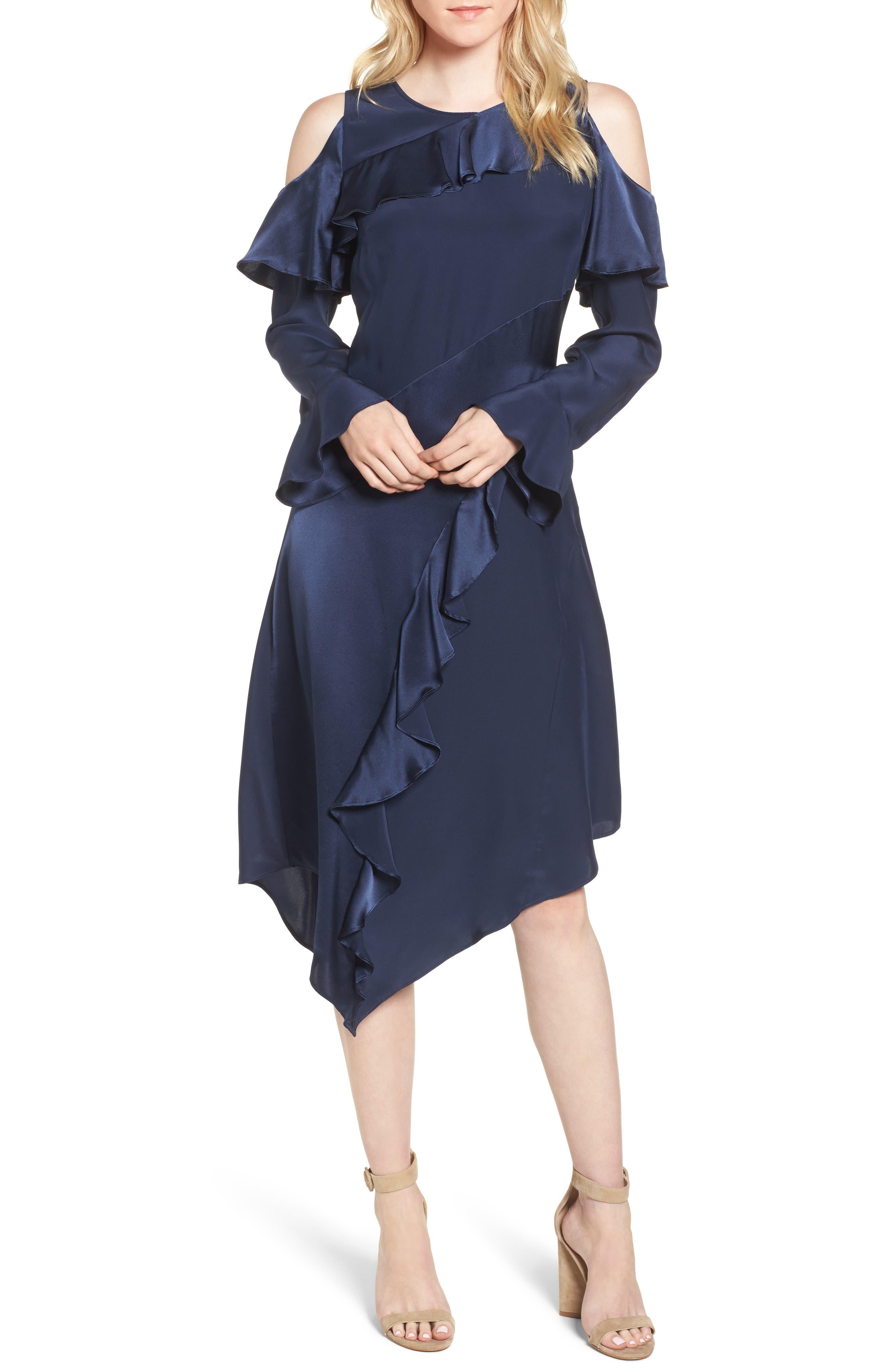 Nadeen Ruffle Cold Shoulder A-Line Dress,                         Main,                         color, 004