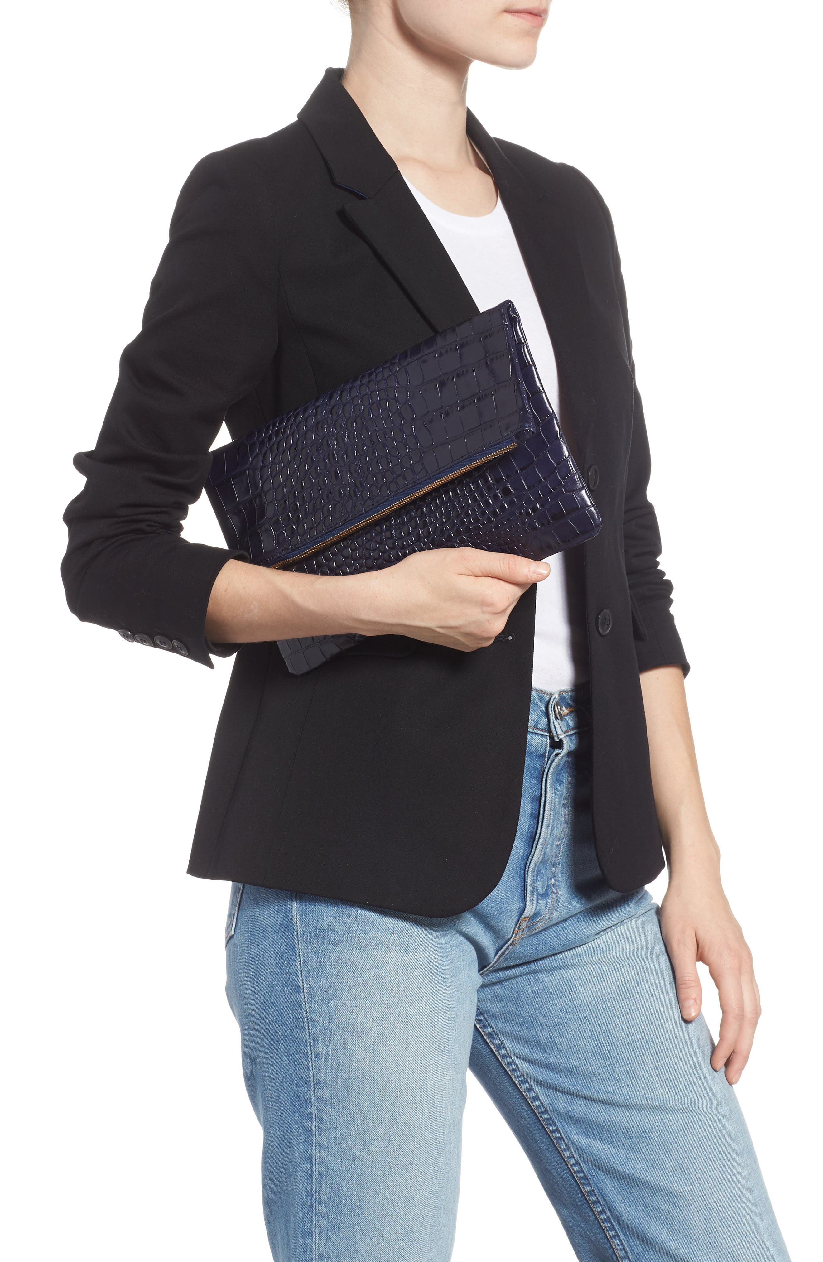 Croc Embossed Leather Foldover Clutch,                             Alternate thumbnail 2, color,                             MIDNIGHT CROCO