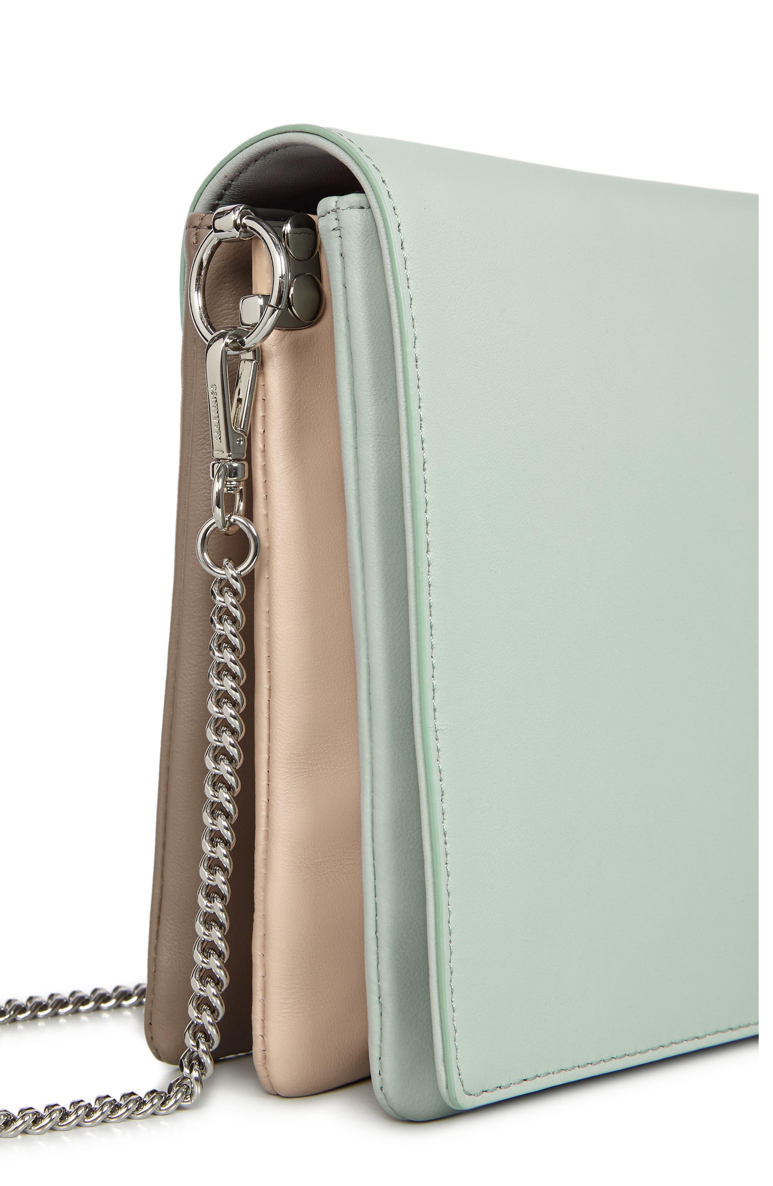 Zep Colorblock Leather Shoulder Bag,                             Alternate thumbnail 7, color,                             MINT GREEN
