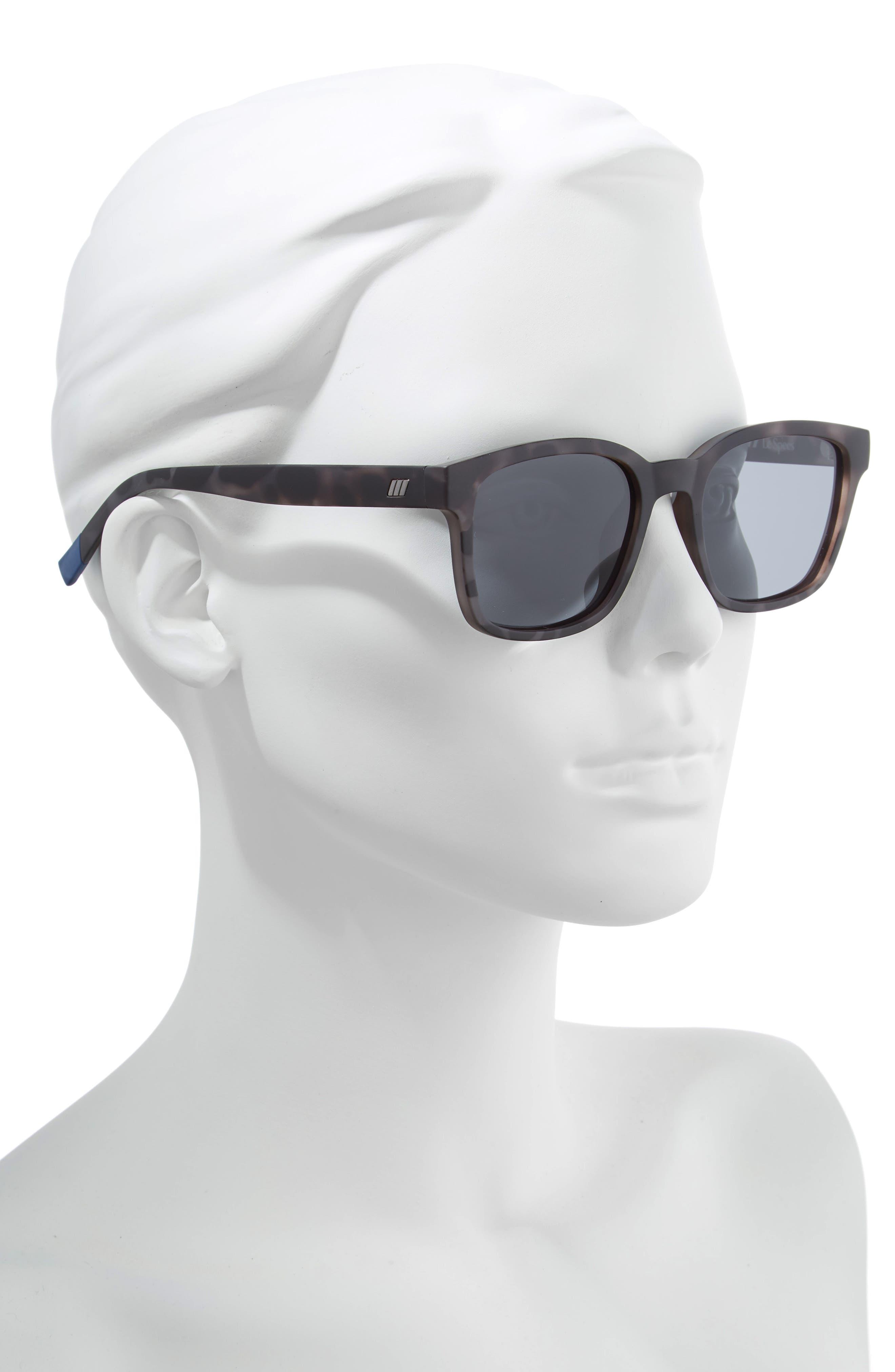 Alpha Basic 53mm Polarized Rectangular Sunglasses,                             Alternate thumbnail 2, color,                             MATTE COAL TORT