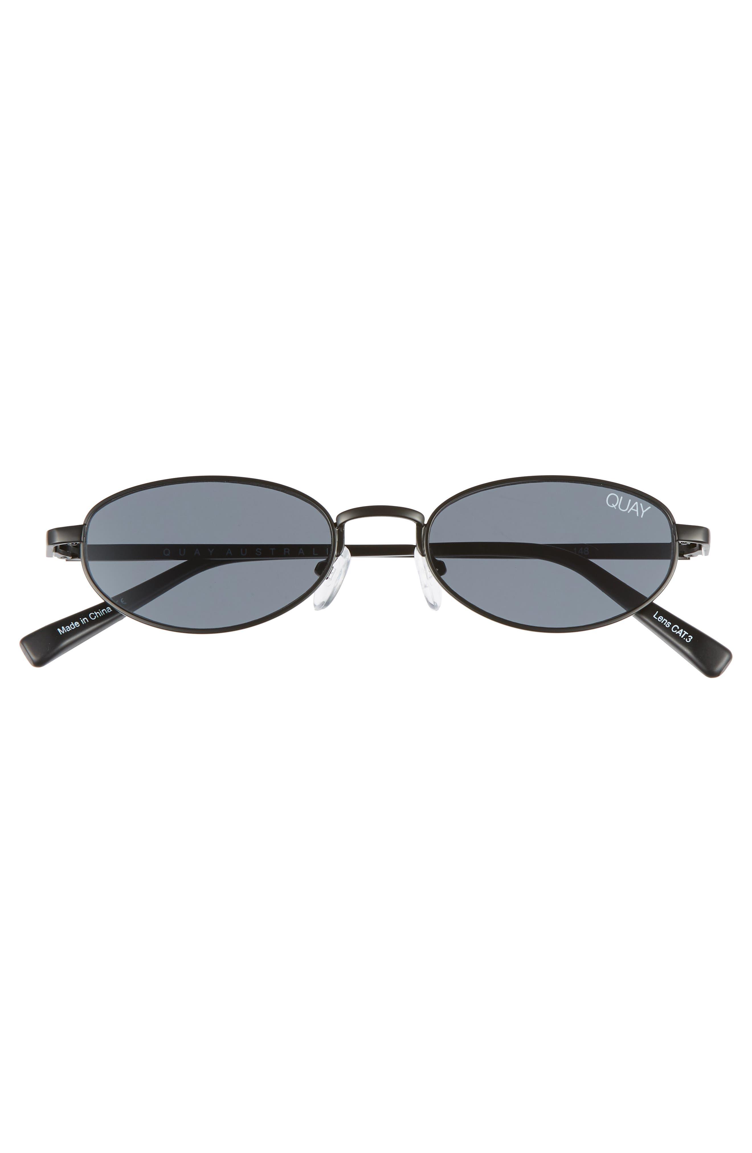49mm Showdown Oval Sunglasses,                             Alternate thumbnail 3, color,                             BLACK/ SMOKE