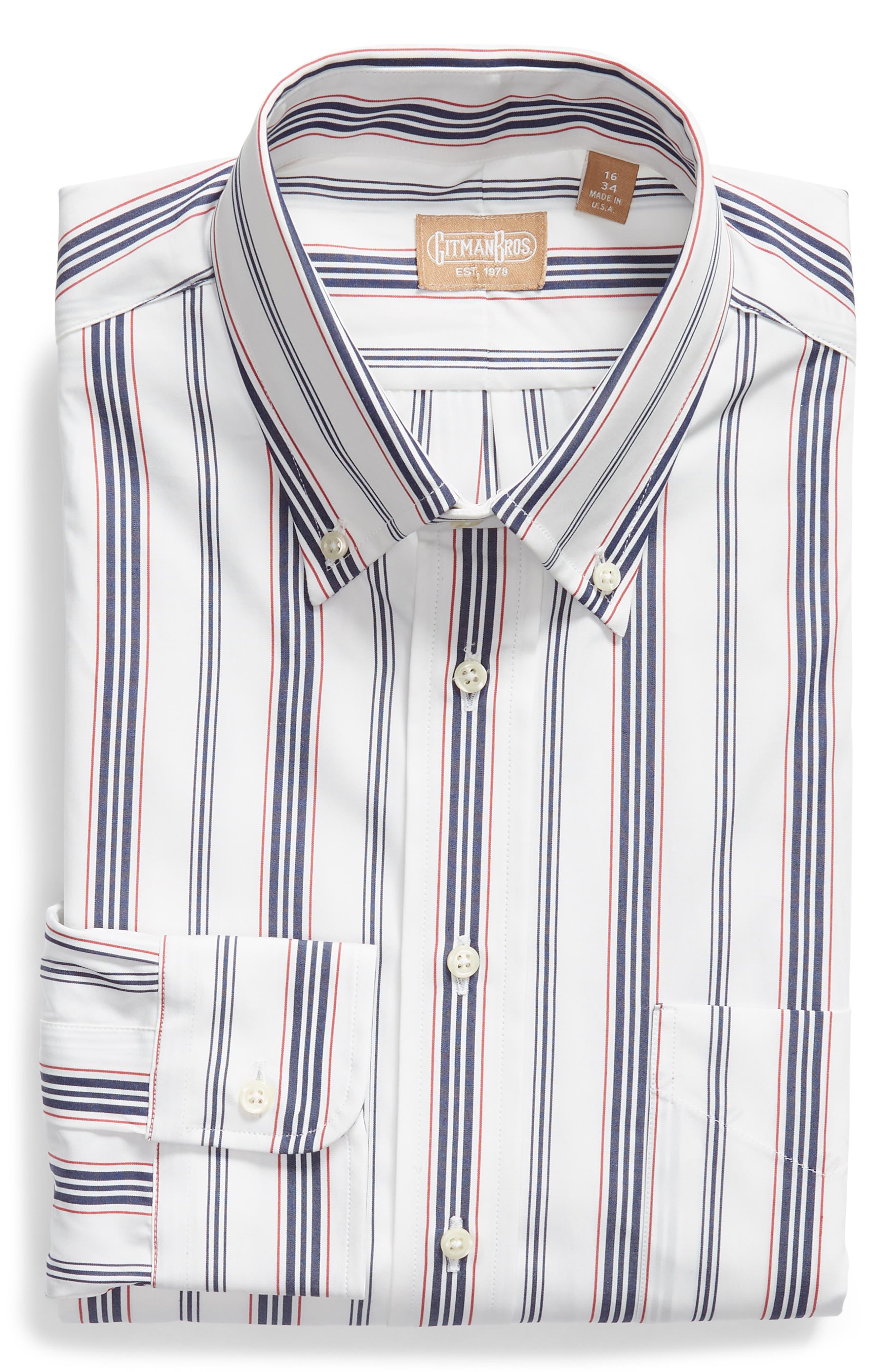 Tailored Fit Stripe Dress Shirt,                             Alternate thumbnail 5, color,                             WHITE/ BLUE