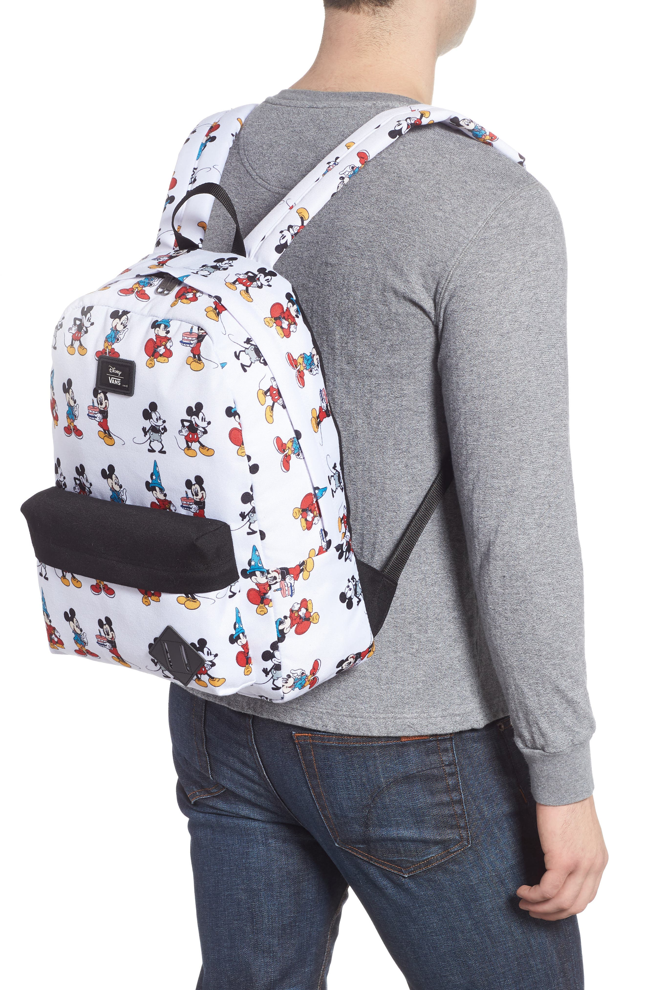 x Disney Mickey's 90th Anniversary - Mickey Through the Ages Backpack,                             Alternate thumbnail 2, color,                             WHITE