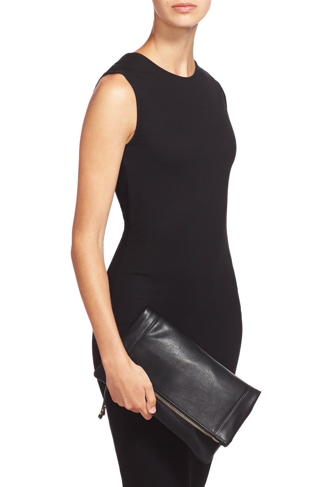 Marlena Faux Leather Foldover Clutch,                             Alternate thumbnail 2, color,                             JET BLACK