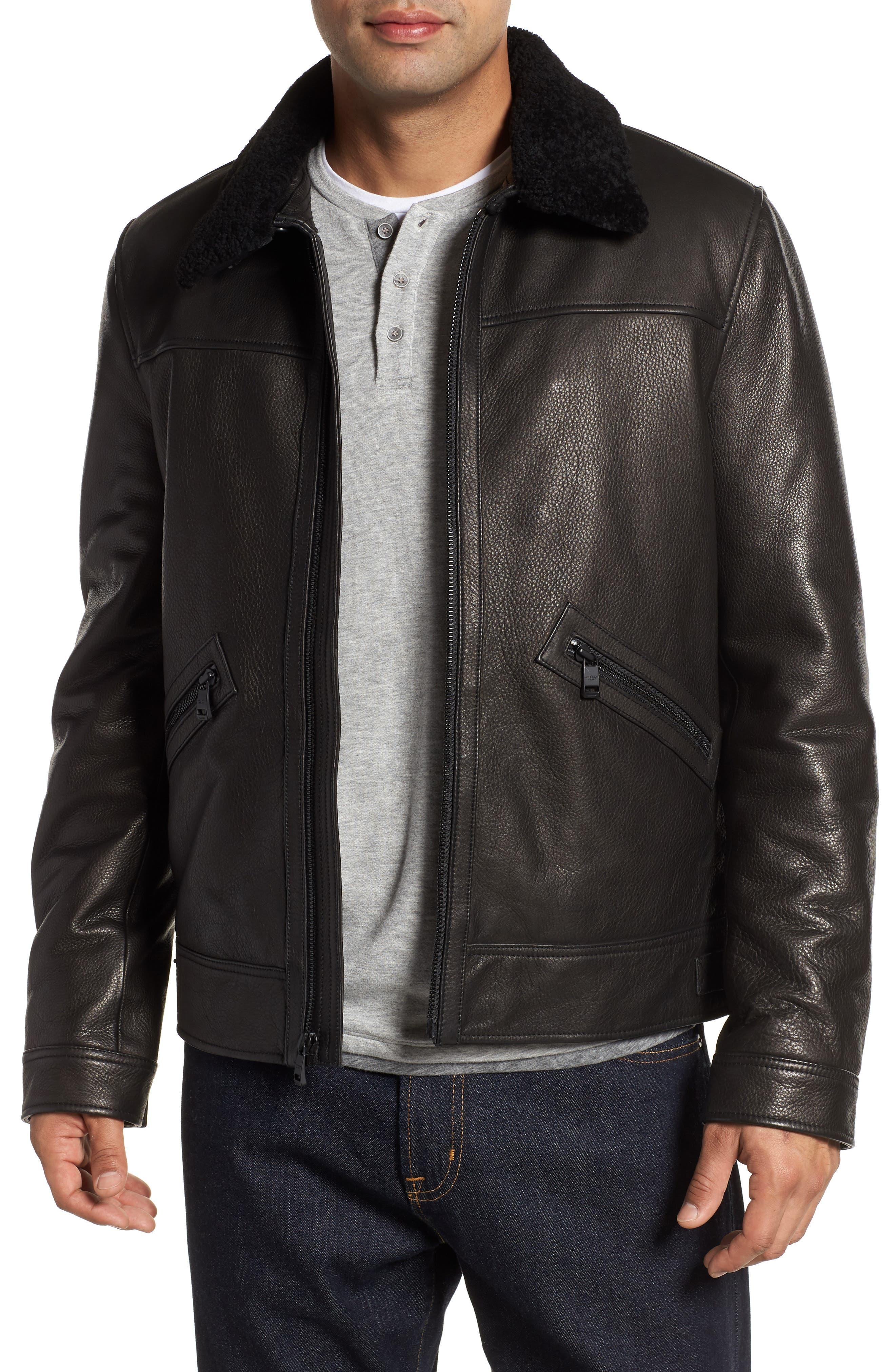 Kilmer Genuine Shearling Bomber Jacket,                             Main thumbnail 1, color,                             BLACK