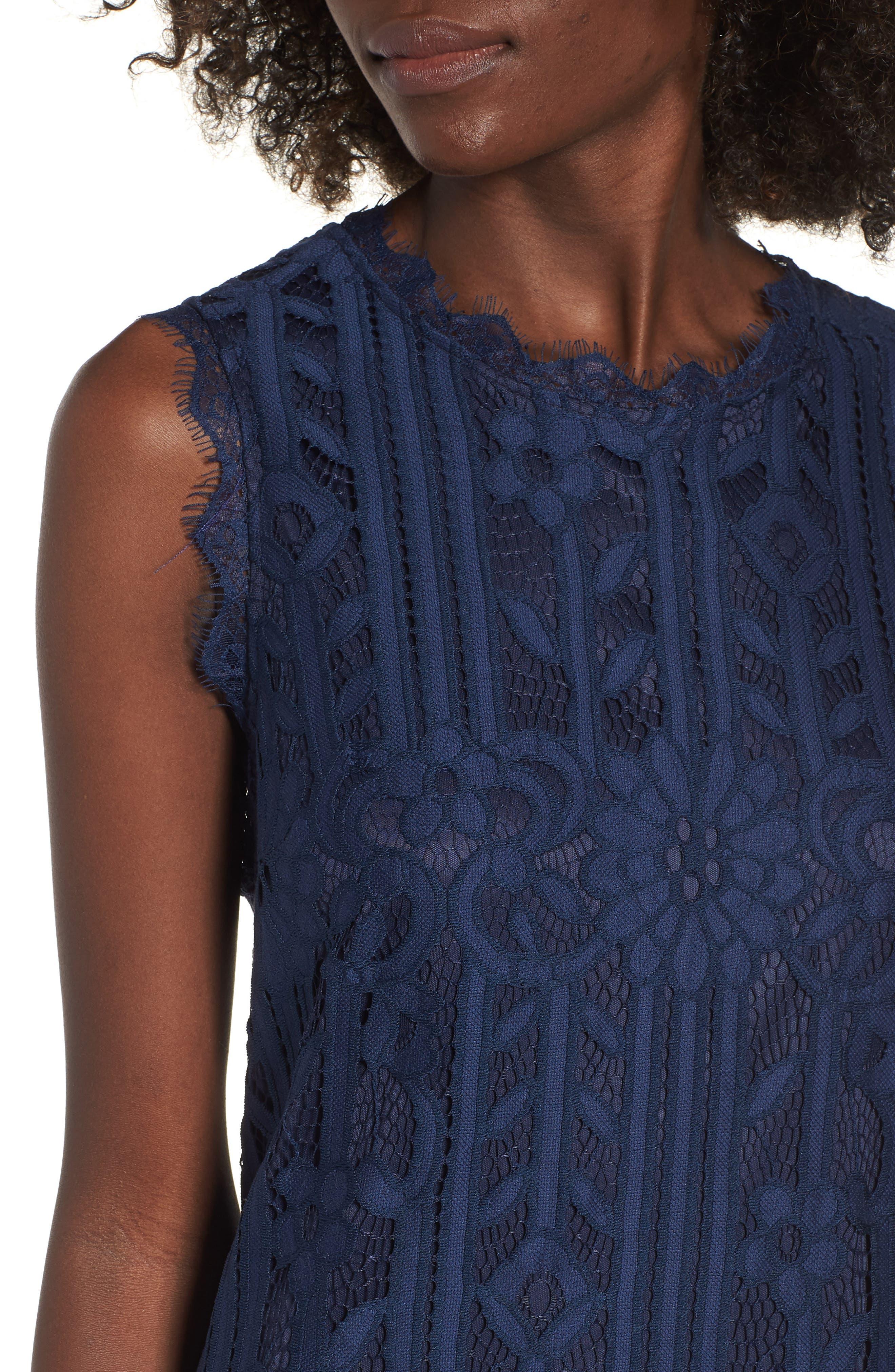 Lace Shift Dress,                             Alternate thumbnail 4, color,                             MIDNIGHT