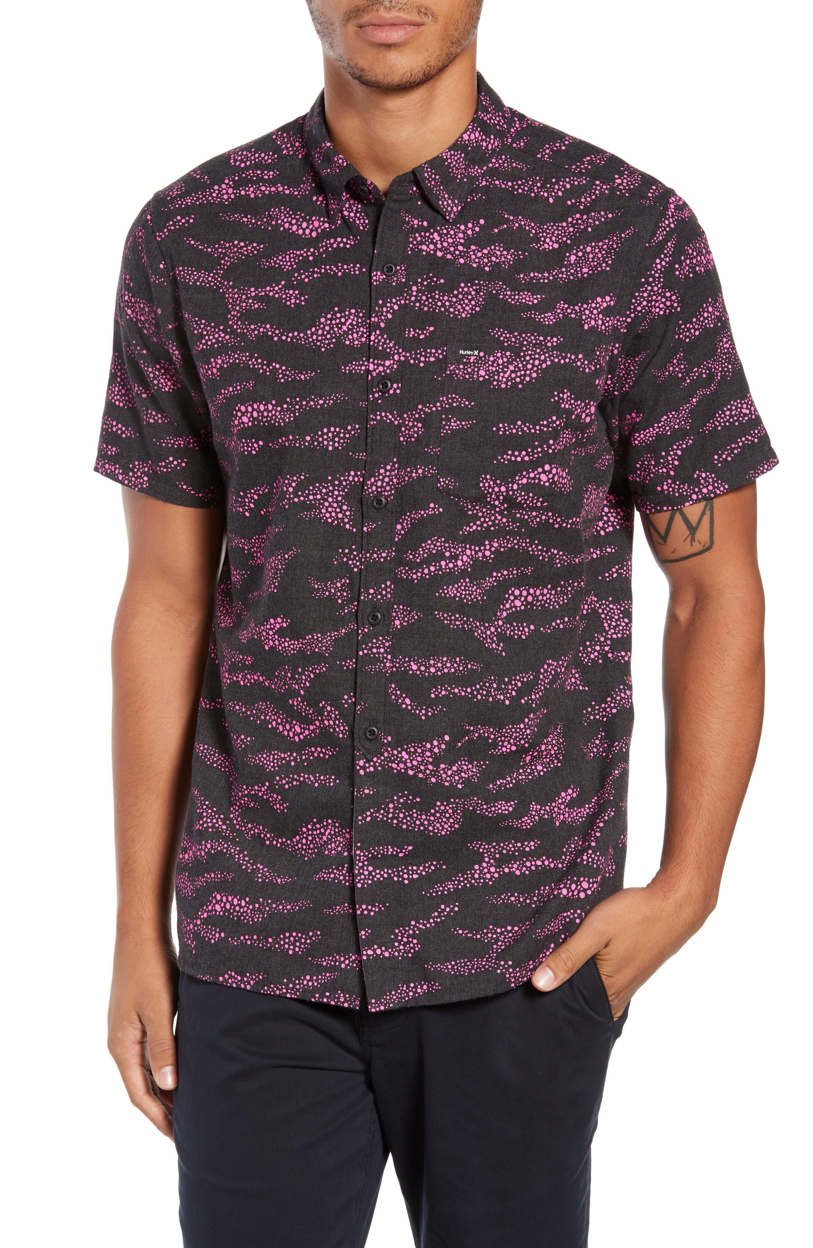 Outcast Woven Shirt,                         Main,                         color, BLACK HEATHER