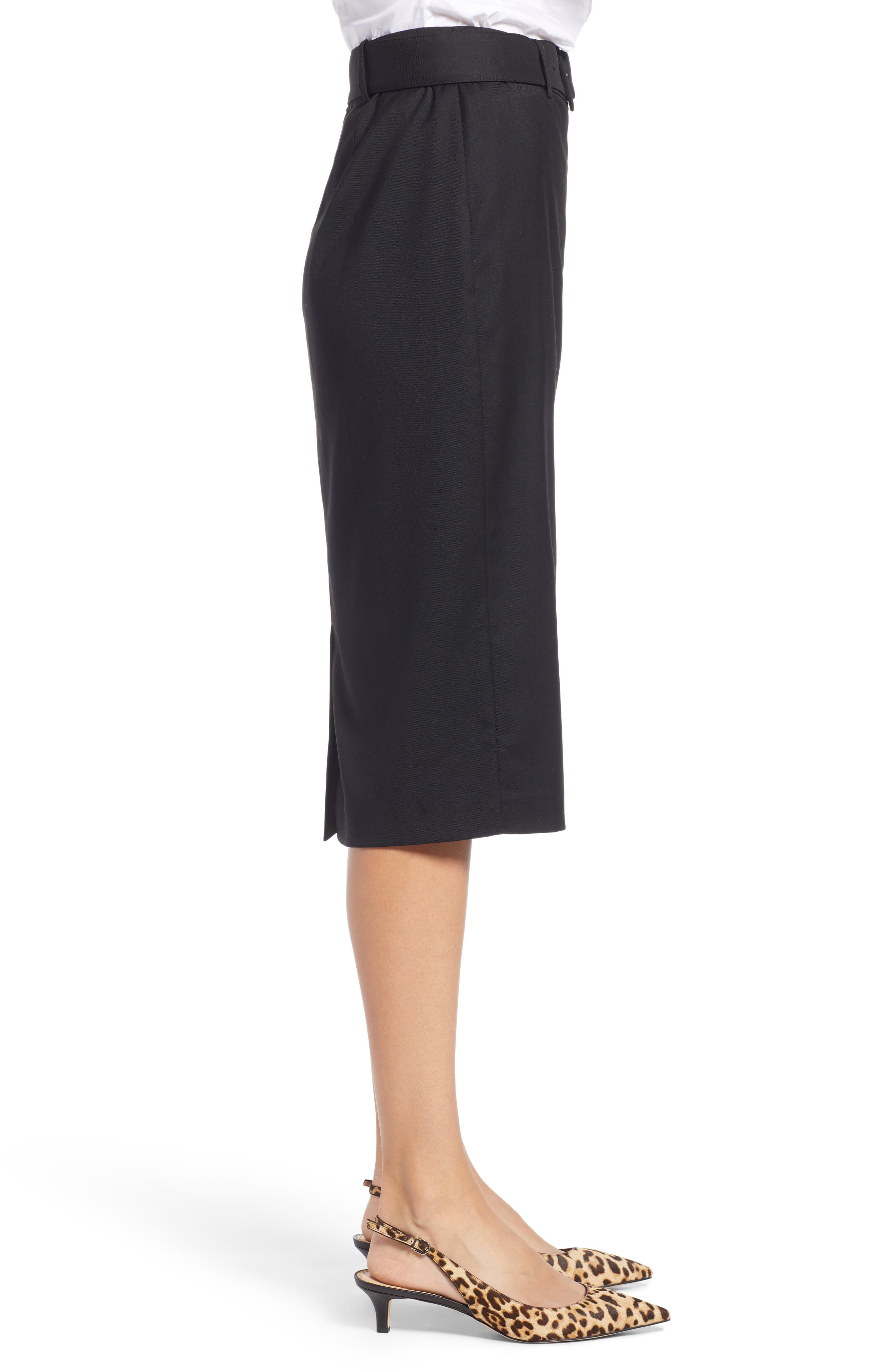 Belted Pencil Skirt,                             Alternate thumbnail 3, color,                             001