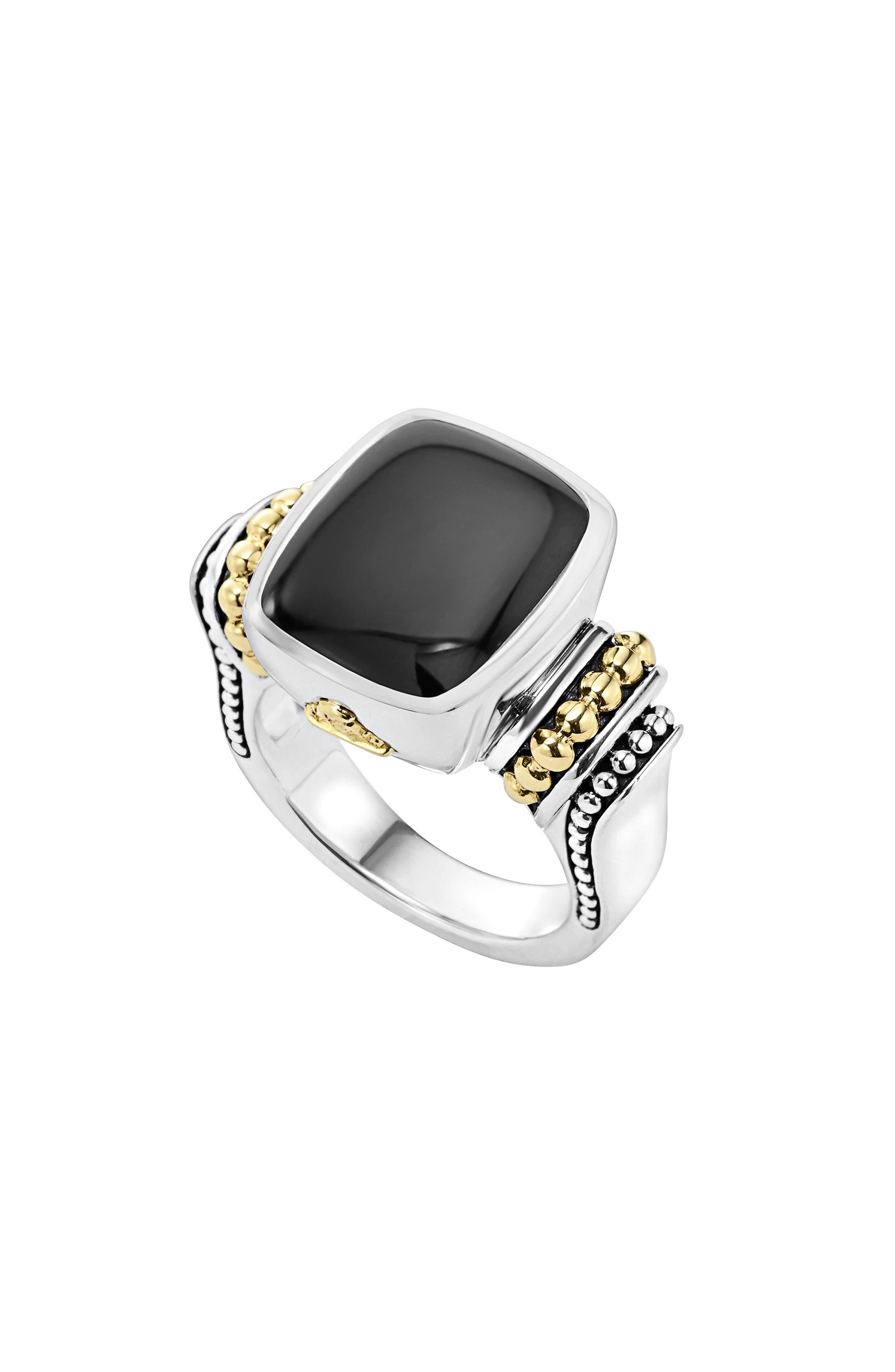 'Caviar Color' Medium Semiprecious Stone Ring,                             Main thumbnail 1, color,                             BLACK ONYX