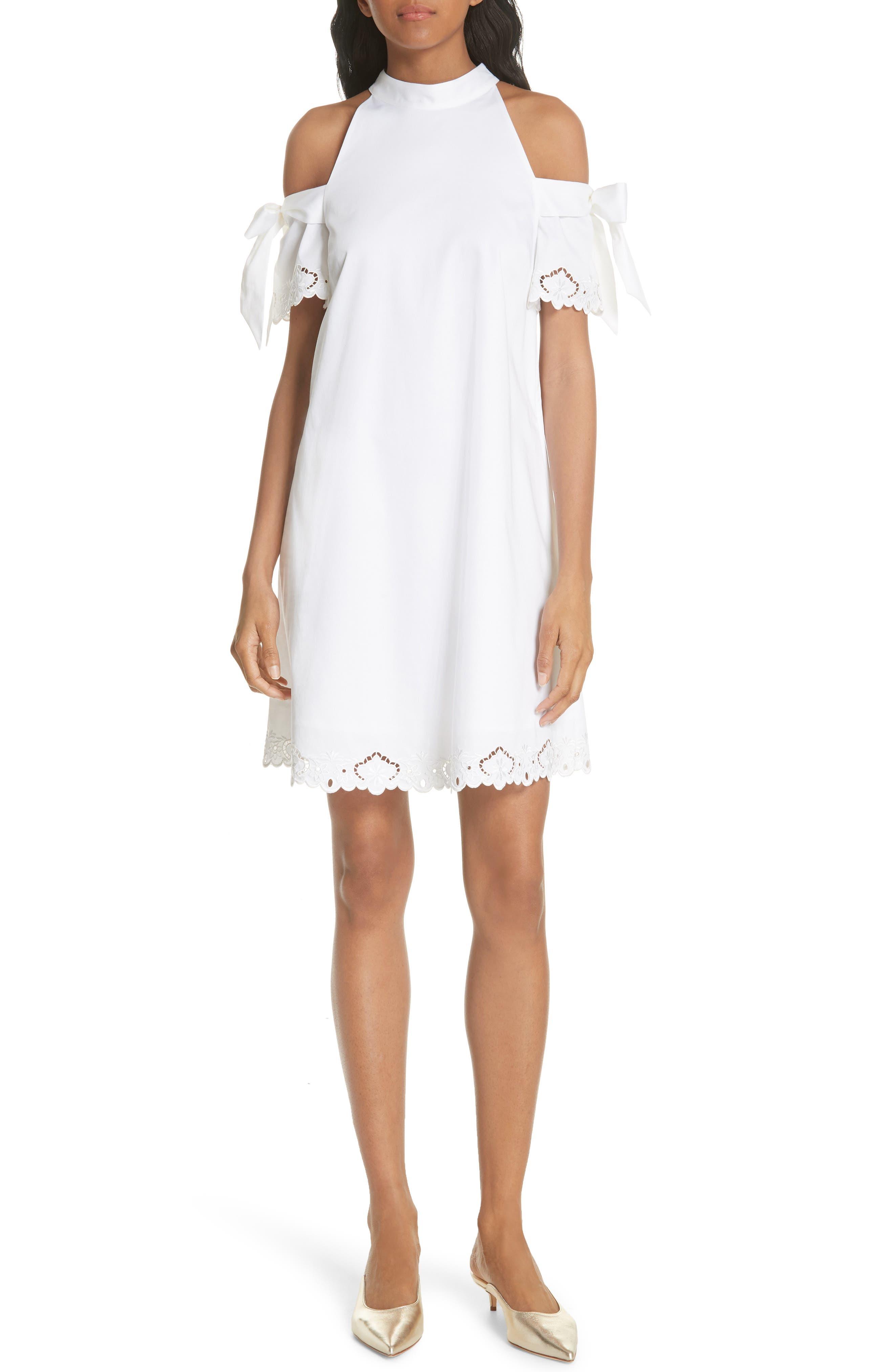 Semarra Embroidered Cold Shoulder Dress,                             Main thumbnail 1, color,                             110