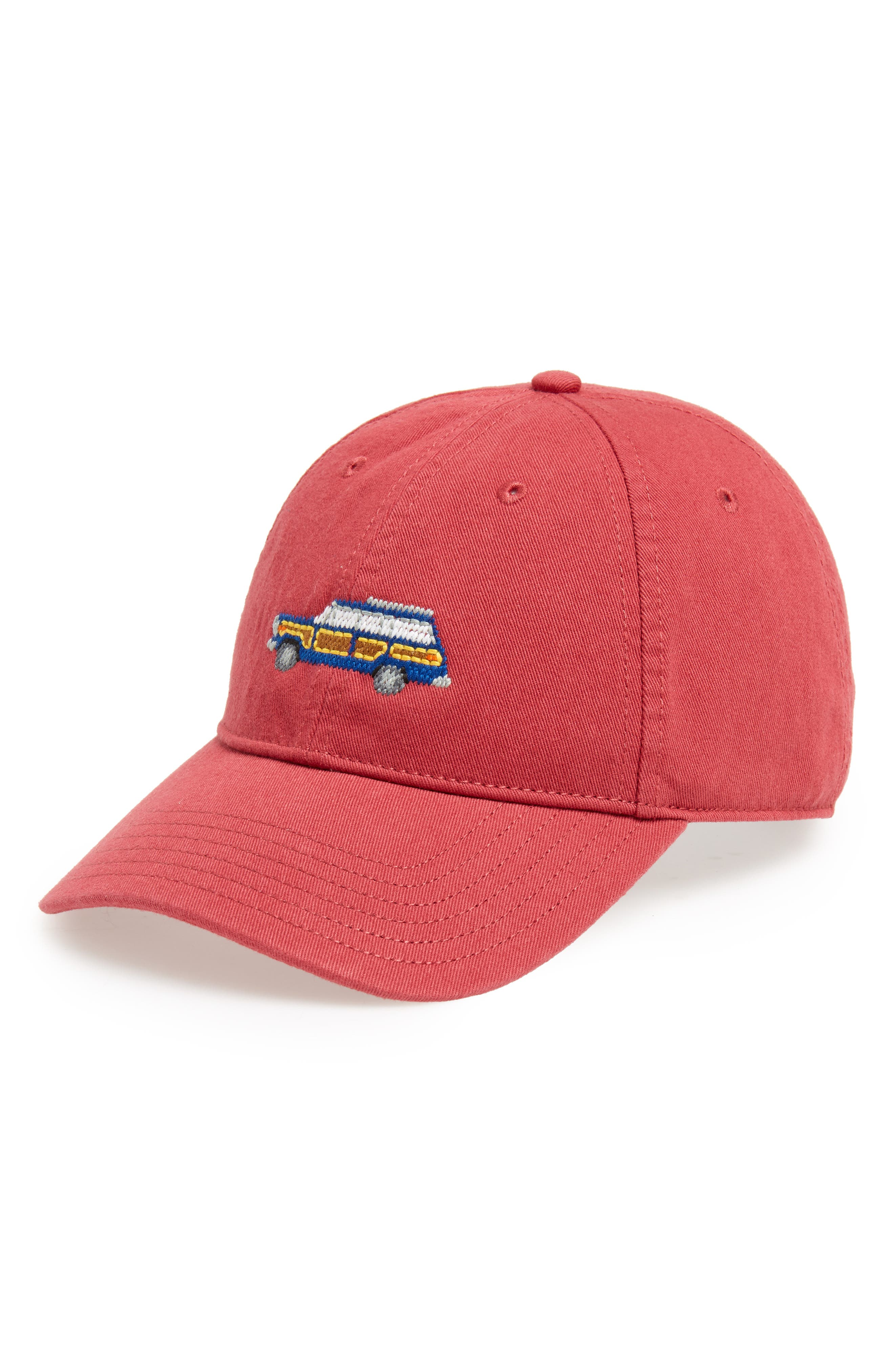 New Grand Wagoneer Baseball Cap,                         Main,                         color, WEATHERED RED