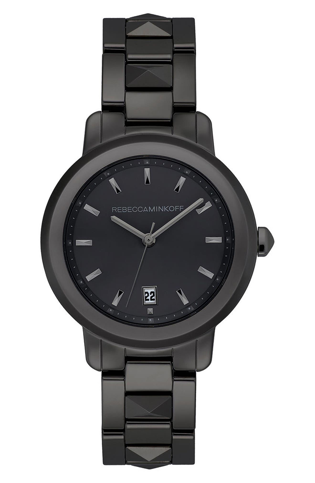 REBECCA MINKOFF,                             BFFL Bracelet Watch, 36mm,                             Main thumbnail 1, color,                             001