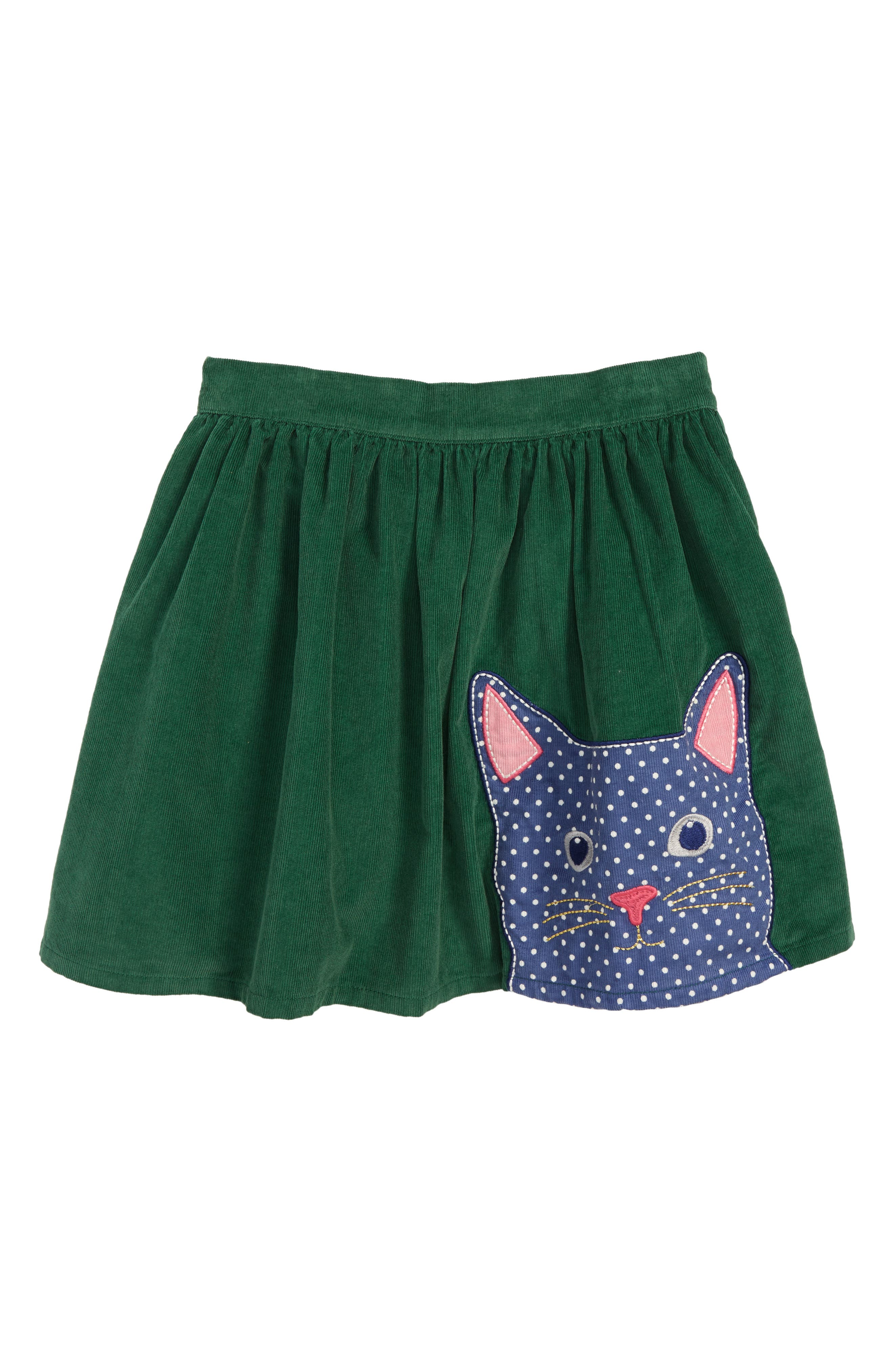 Animal Appliqué Skirt,                         Main,                         color, WILLOW GREEN CAT