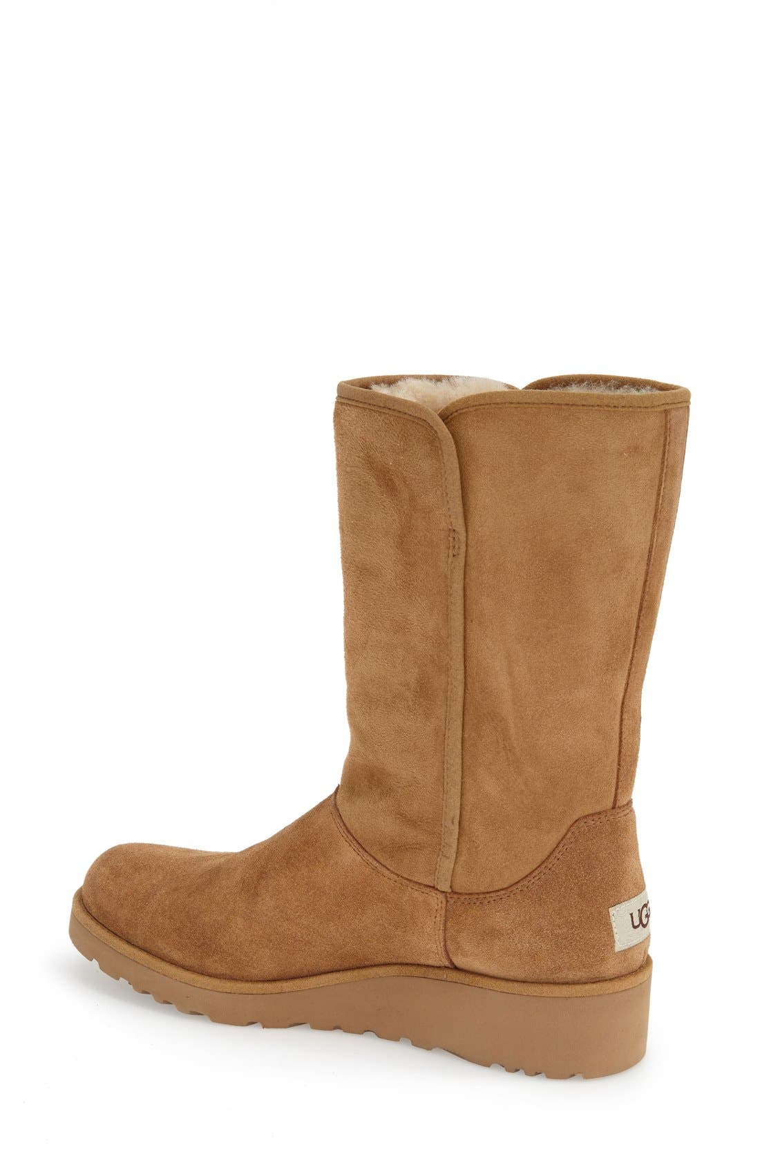 Amie - Classic Slim<sup>™</sup> Water Resistant Short Boot,                             Alternate thumbnail 3, color,                             CHESTNUT SUEDE