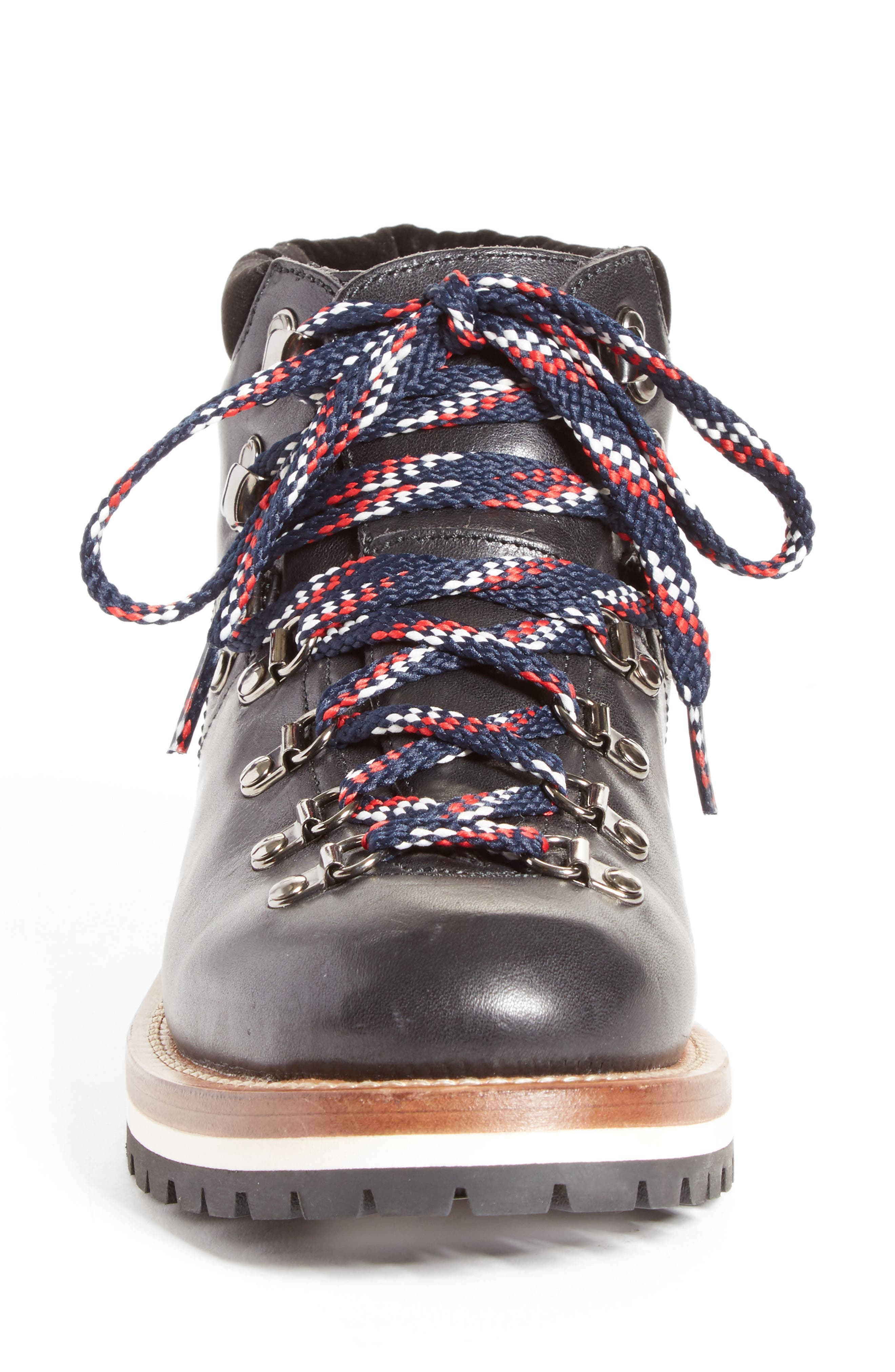Blanche Lace-up Boot,                             Alternate thumbnail 4, color,                             BLACK