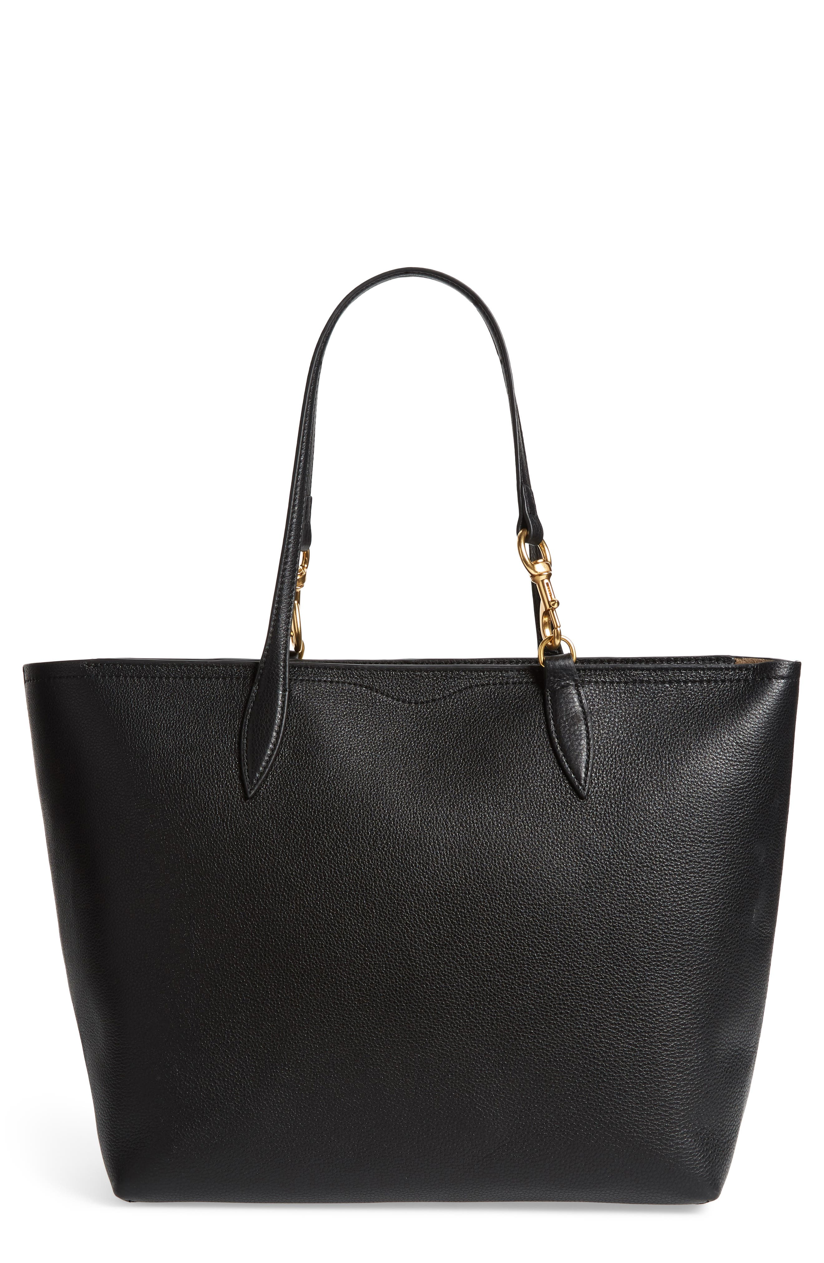 Sherry Dog Clip Leather Tote,                         Main,                         color, BLACK/ TAUPE